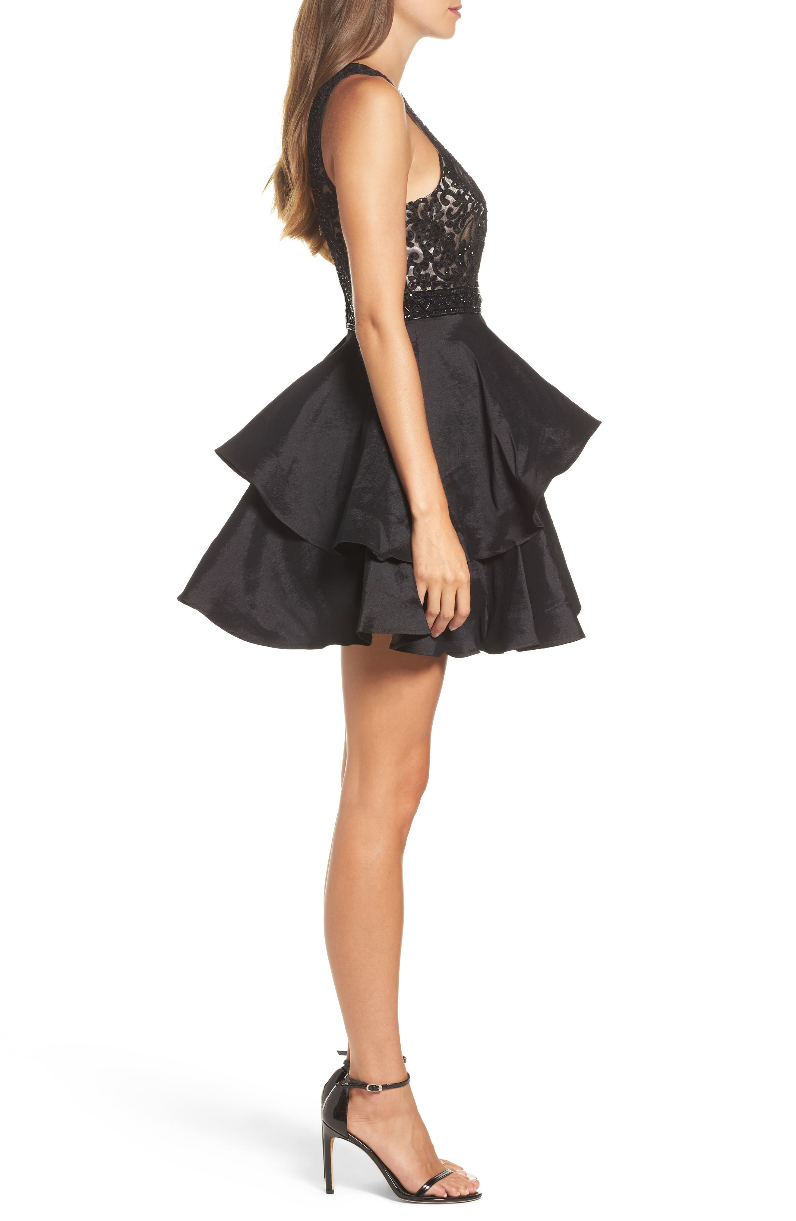 Alternate Image 3  - Sean Collection Lace Bodice Tiered Mikado Fit & Flare Dress