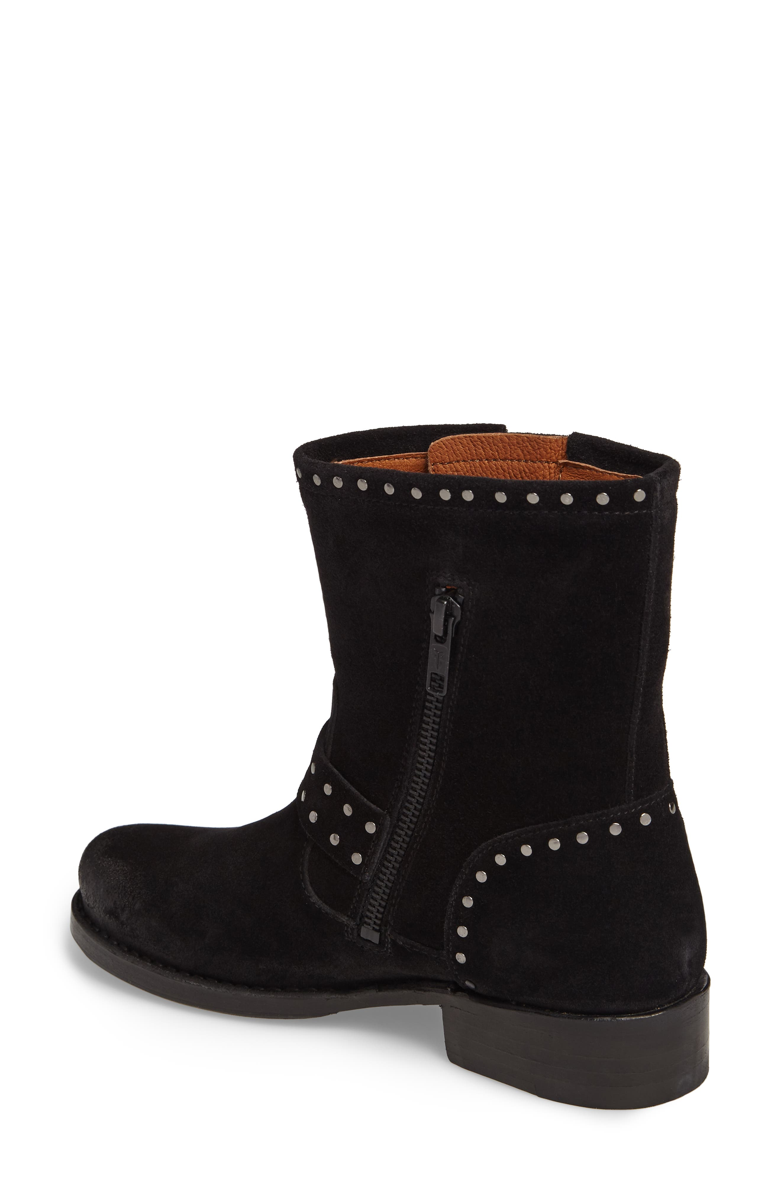 Vicky Stud Engineer Boot,                             Alternate thumbnail 2, color,                             Black Suede