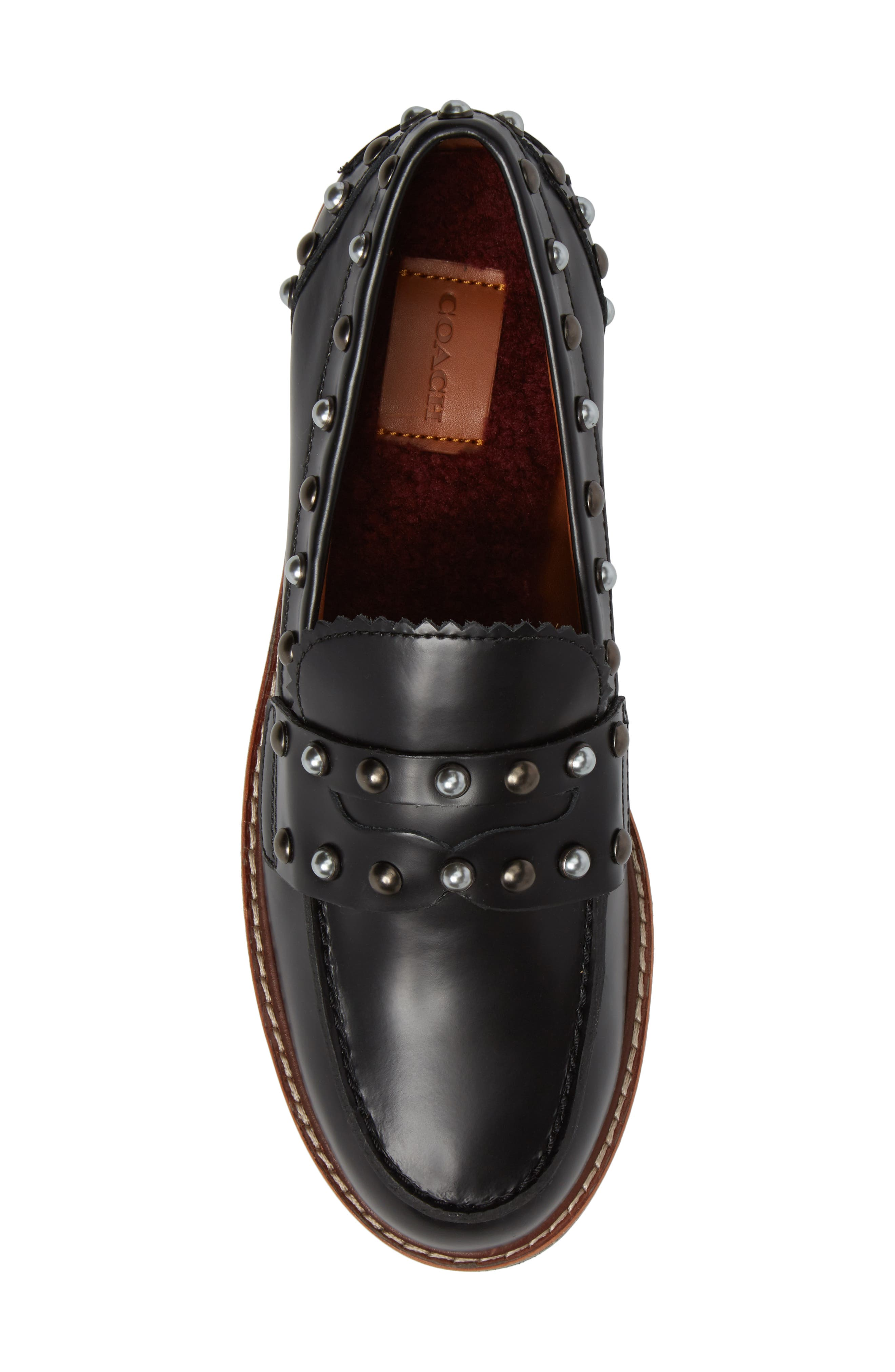 Lenox Loafer,                             Alternate thumbnail 5, color,                             Black Leather