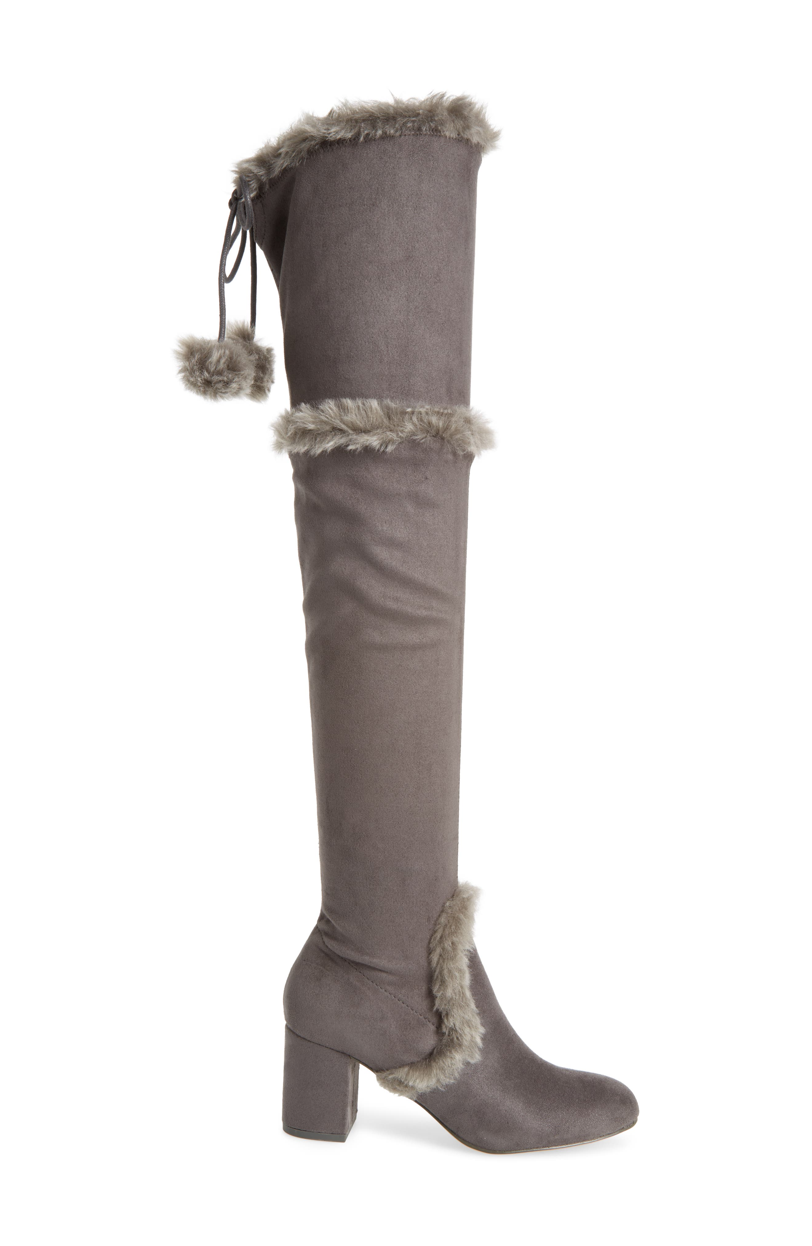 Odom Over the Knee Boot,                             Alternate thumbnail 3, color,                             Slate Faux Suede