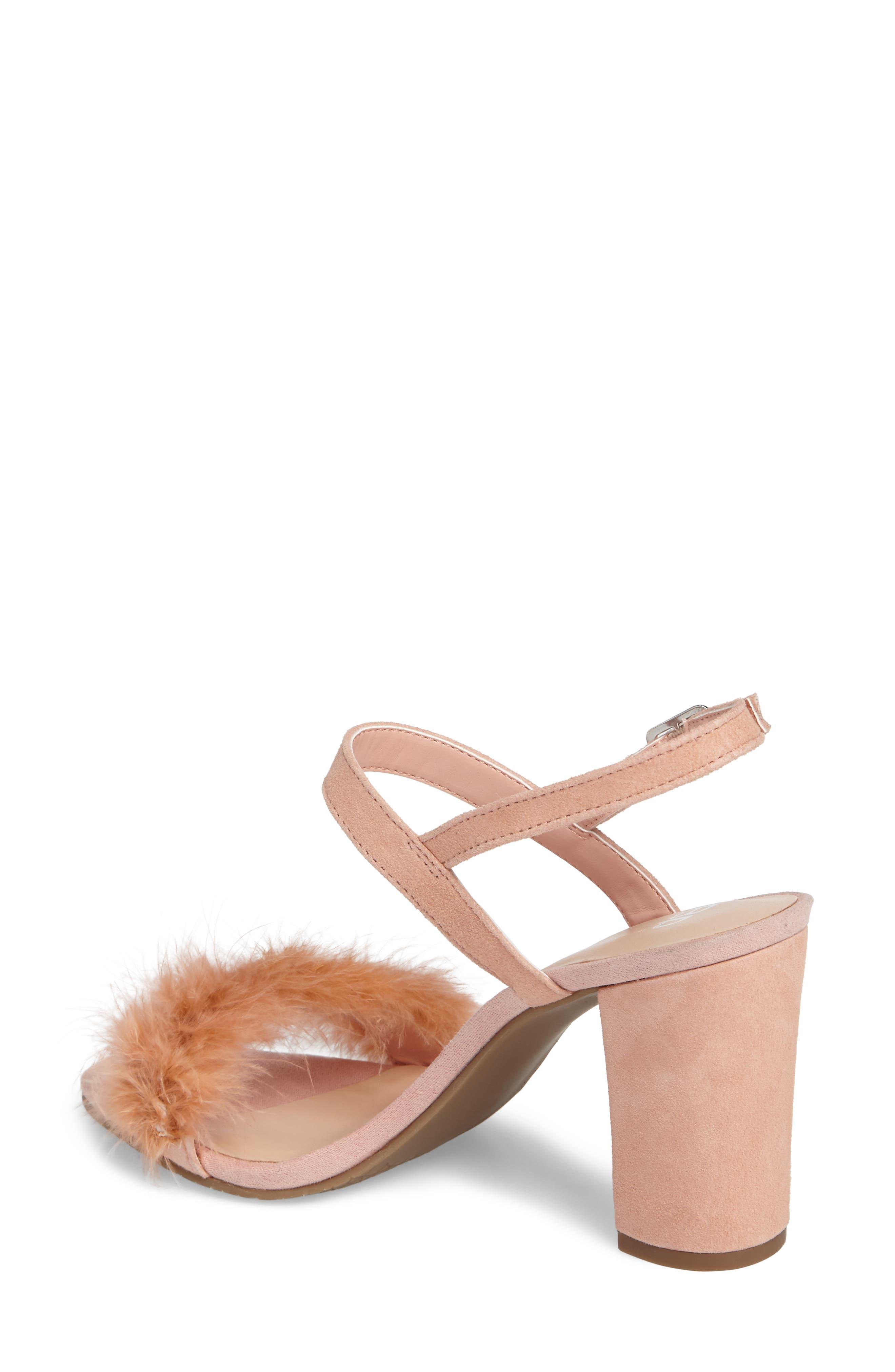 Lula Block Heel Slingback Sandal,                             Alternate thumbnail 2, color,                             Blush Feathers