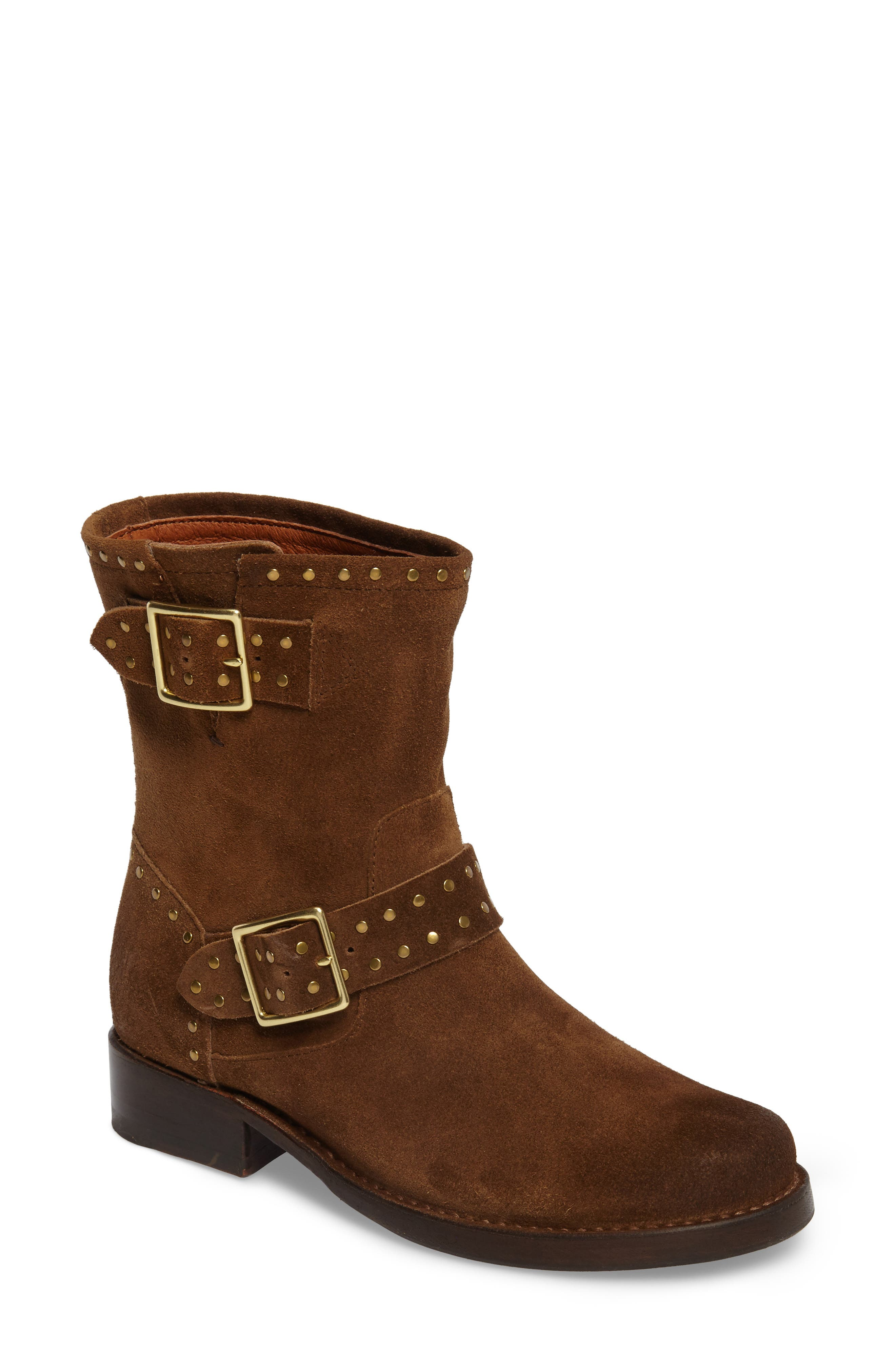 Vicky Stud Engineer Boot,                             Main thumbnail 1, color,                             Chestnut Suede