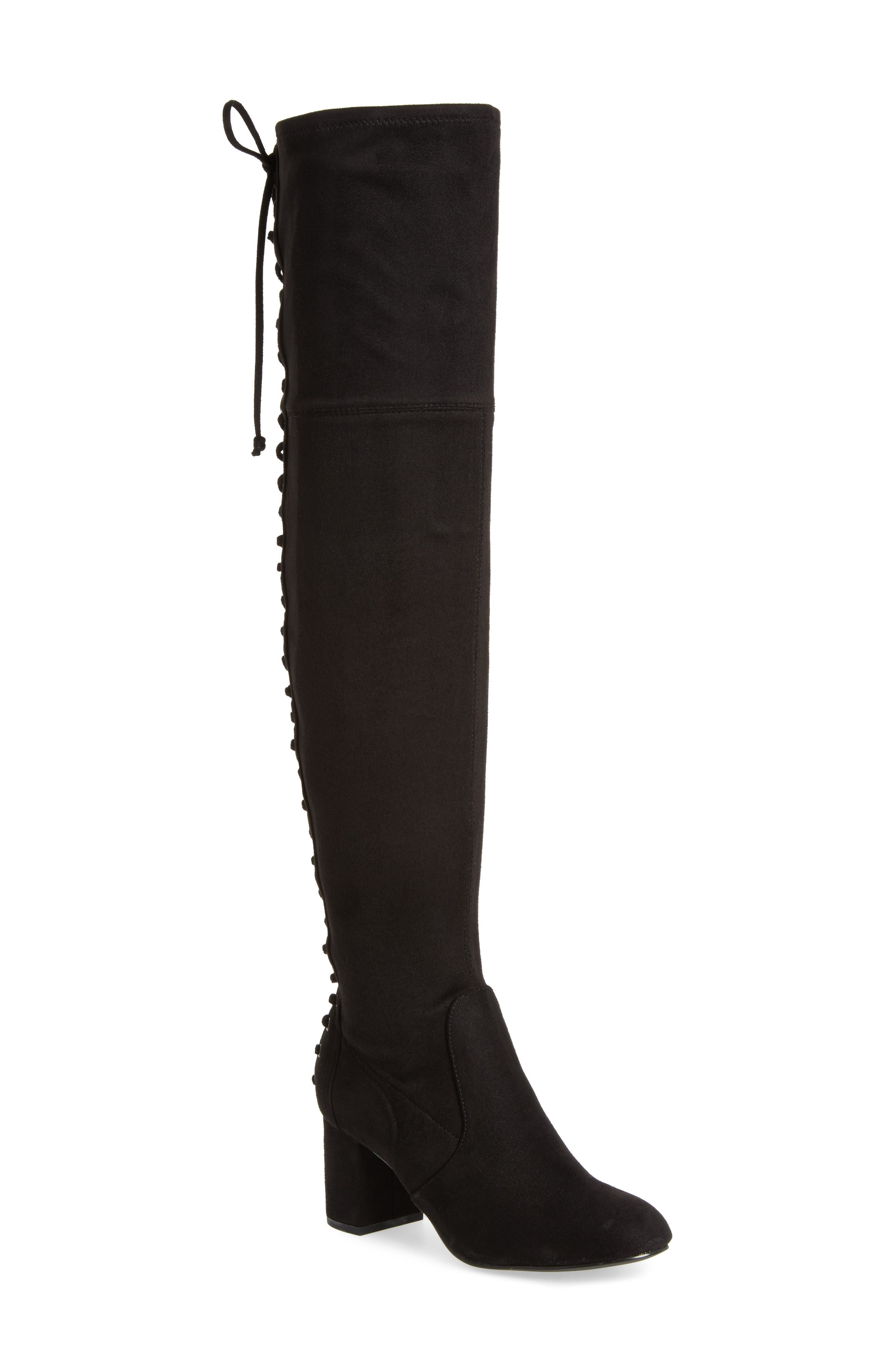 Ollie Over the Knee Boot,                             Main thumbnail 1, color,                             Black Microsuede