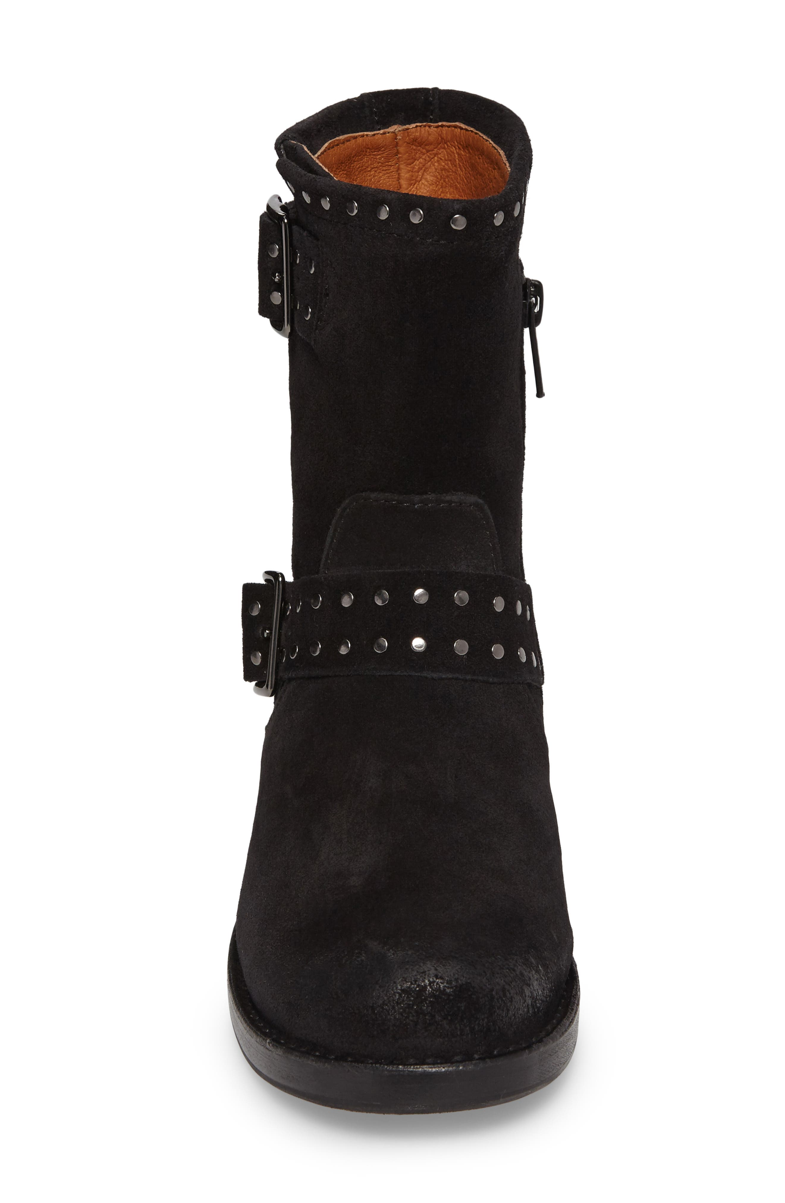 Vicky Stud Engineer Boot,                             Alternate thumbnail 4, color,                             Black Suede