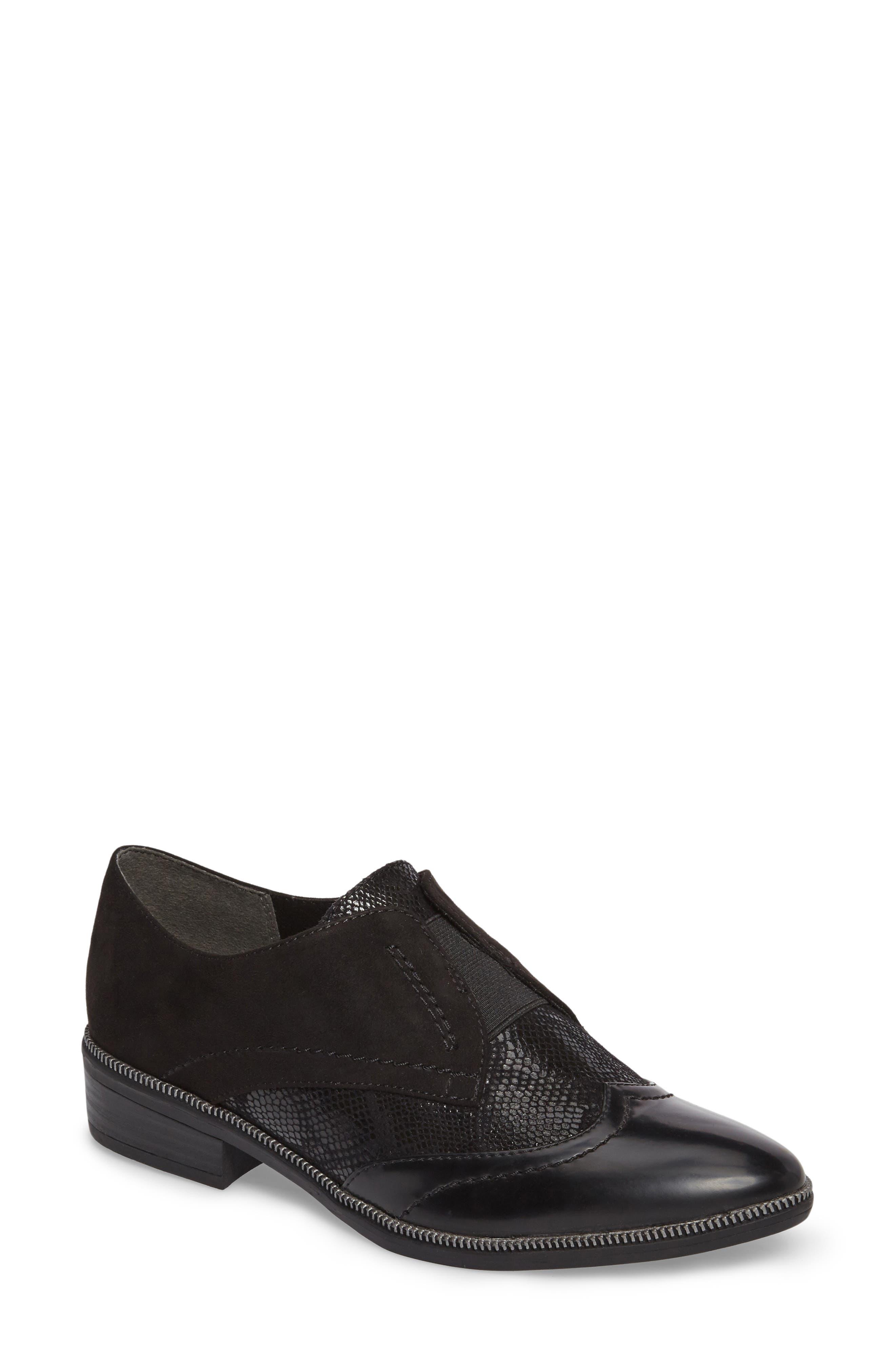 'Phanie' Slip-On Oxford,                         Main,                         color, Black Fabric