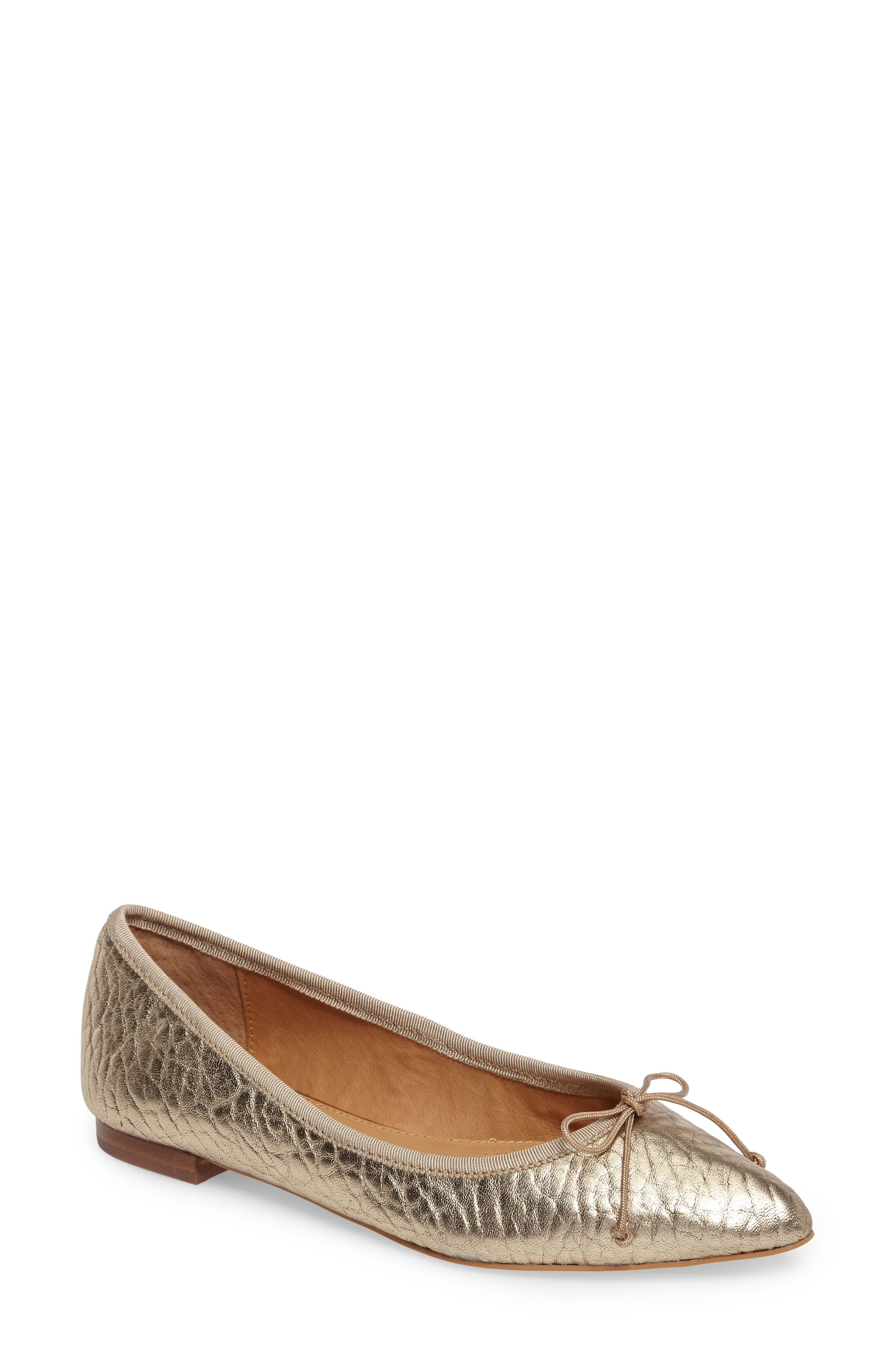 'Recital' Pointy Toe Flat,                         Main,                         color, Platinum Leather