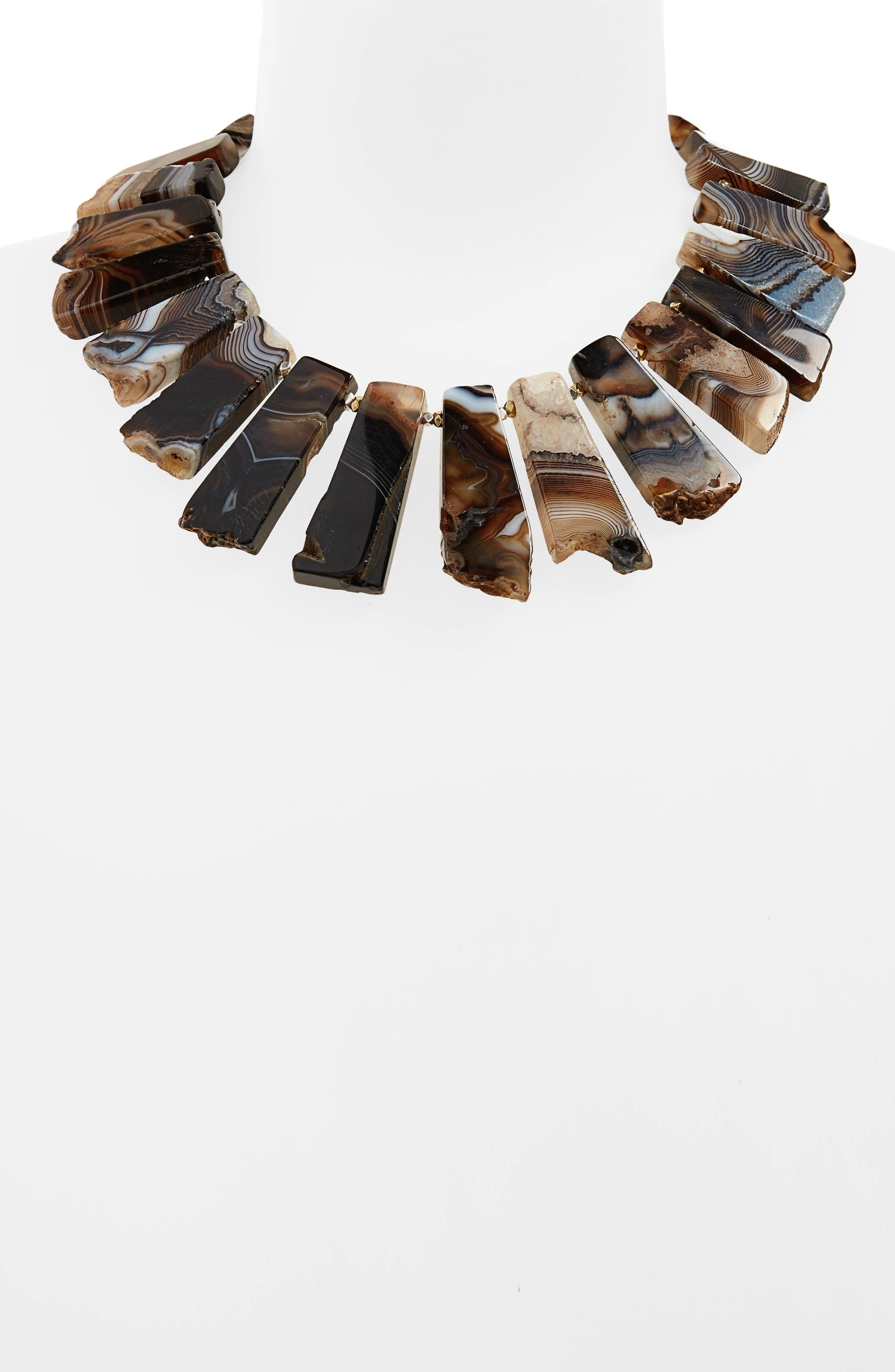 Agate Collar Necklace,                             Alternate thumbnail 2, color,                             Black