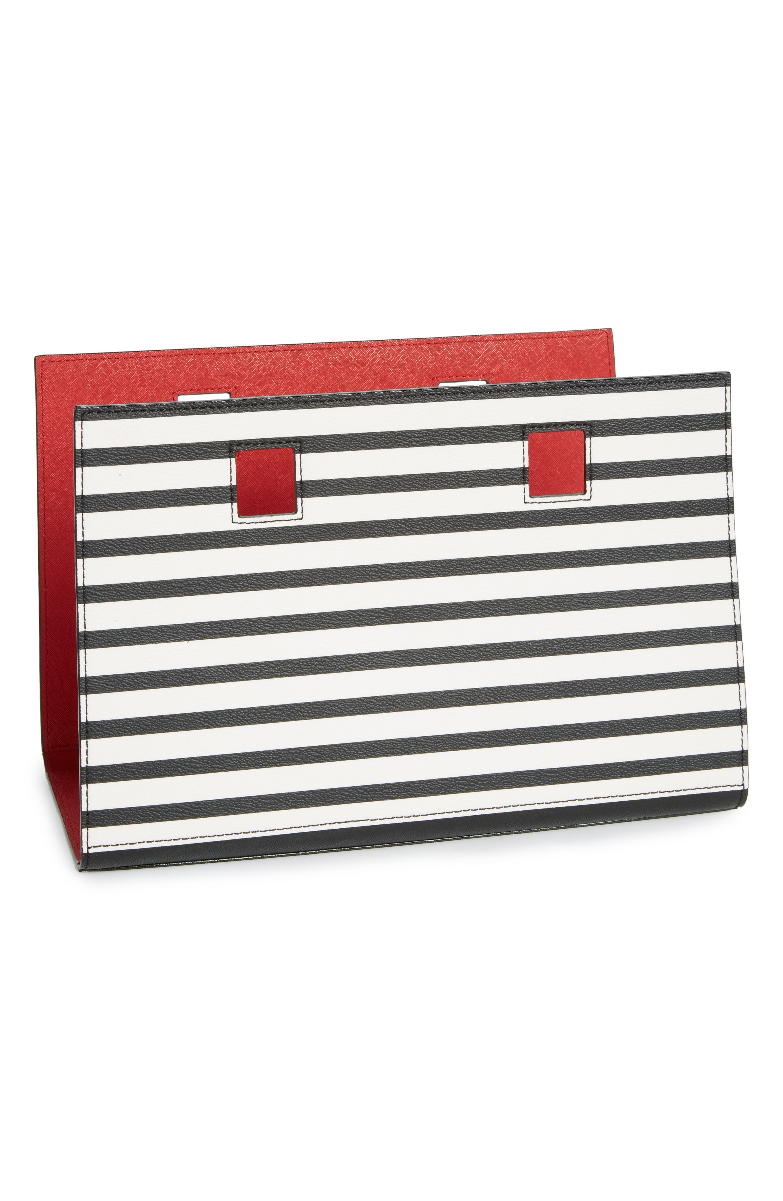 kate spade new york make it mine reversible stripe/solid leather snap-on accent flap
