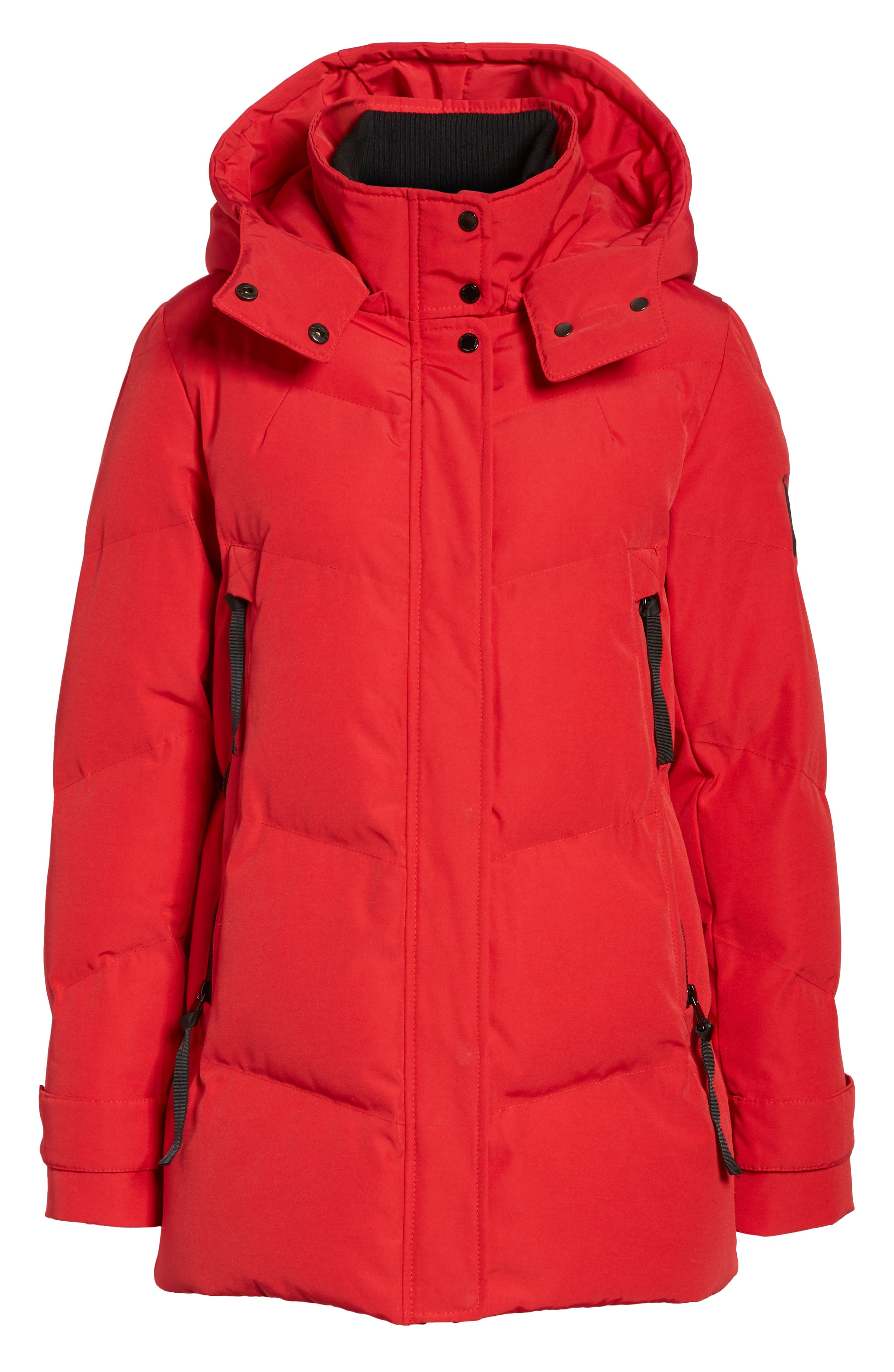 Quilted Puffer Jacket,                             Alternate thumbnail 6, color,                             Red