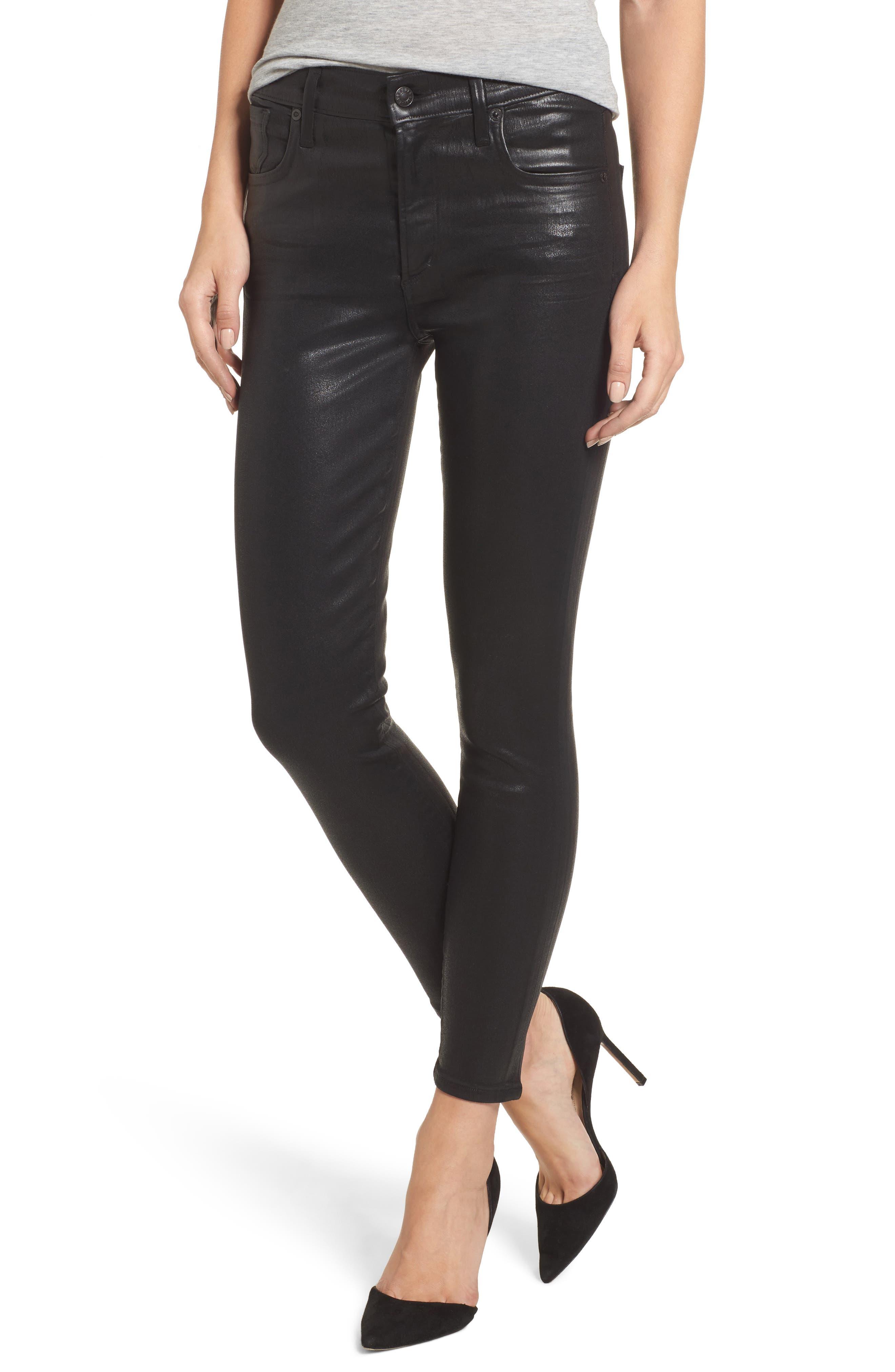 Sophie Coated High Waist Crop Skinny Jeans,                         Main,                         color, Black Leatherette