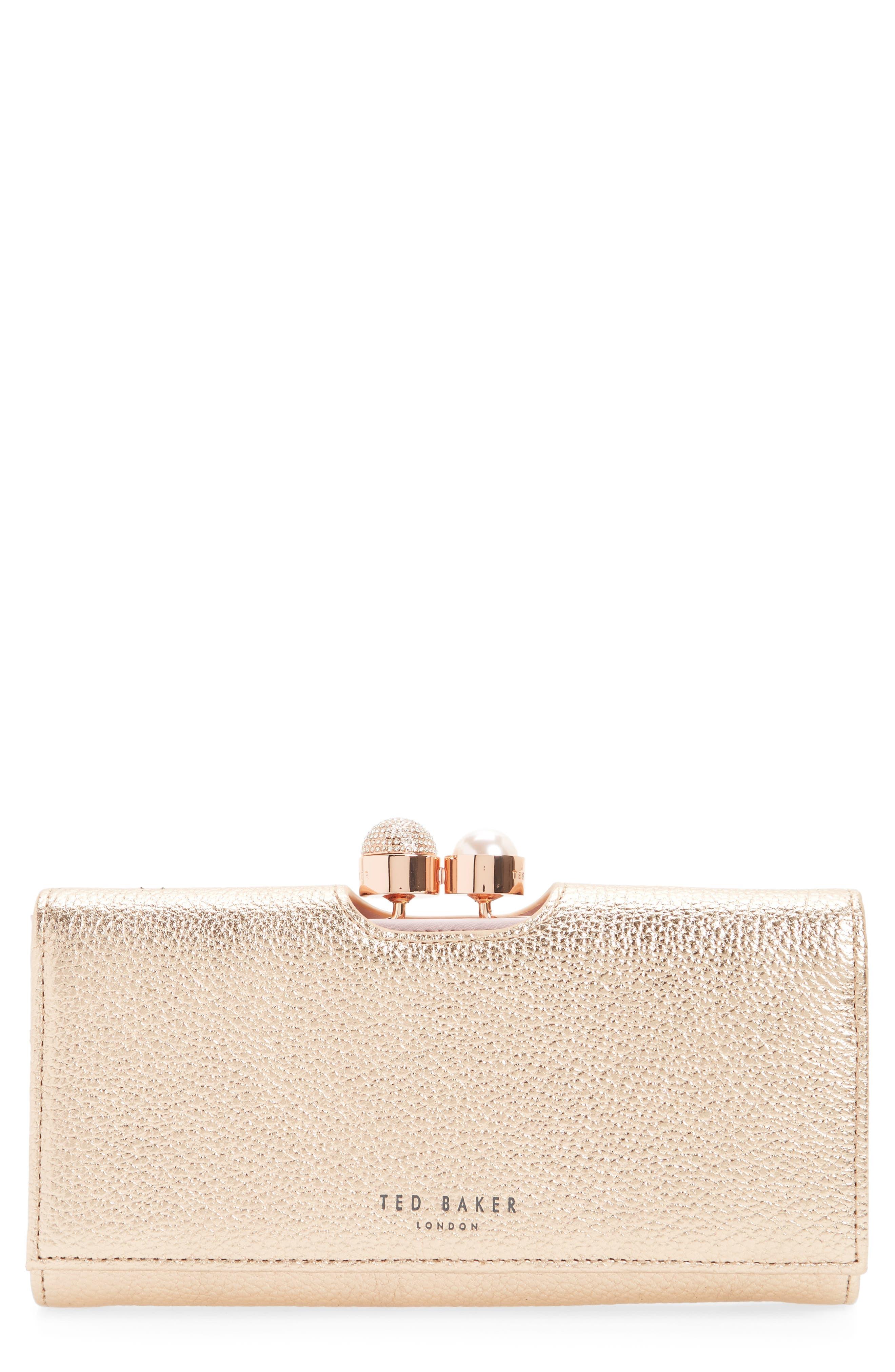 Marta Bobble Matinée Leather Wallet,                             Main thumbnail 1, color,                             Rose Gold