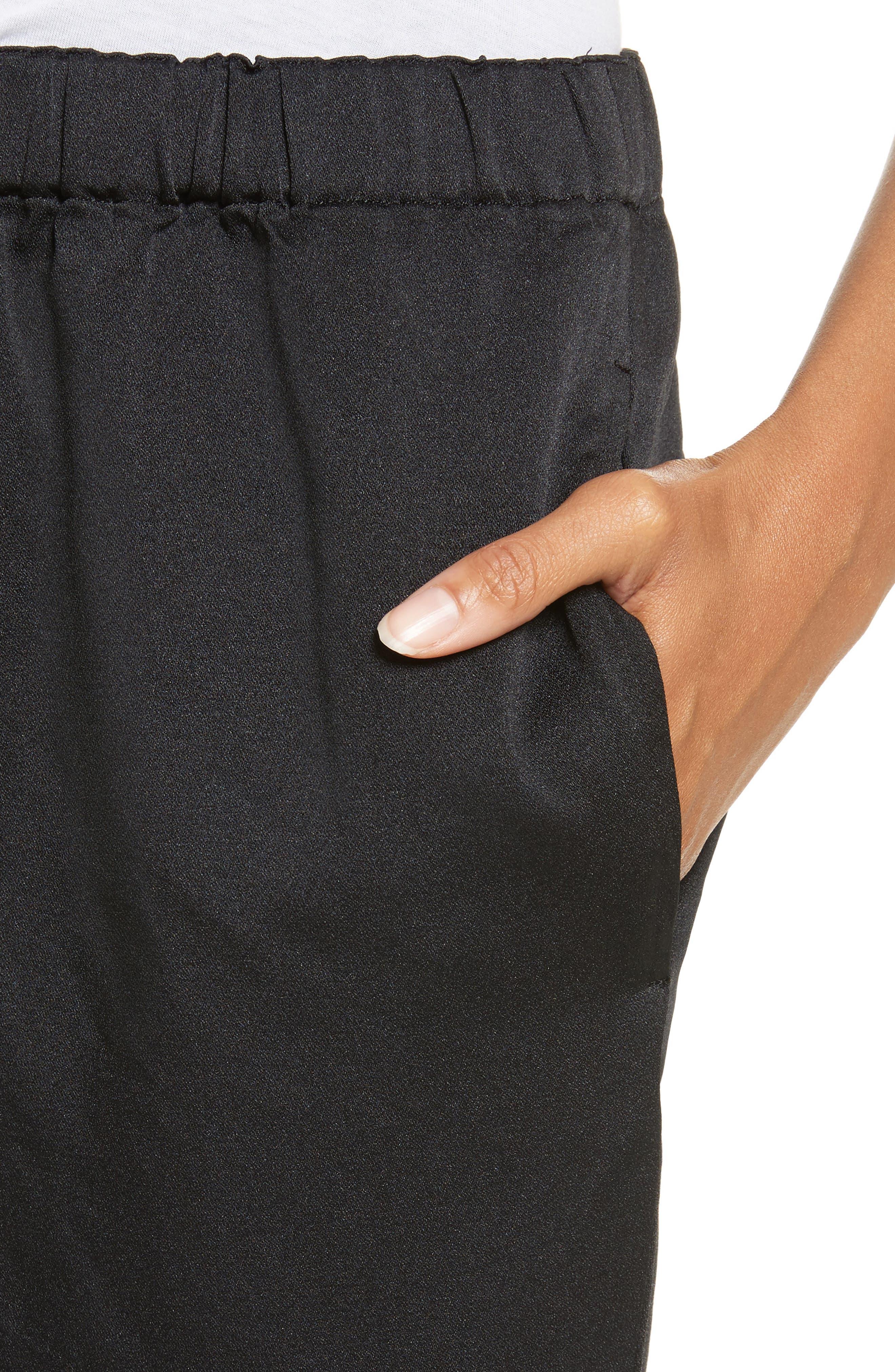 Satin Drawstring Pants,                             Alternate thumbnail 4, color,                             Black