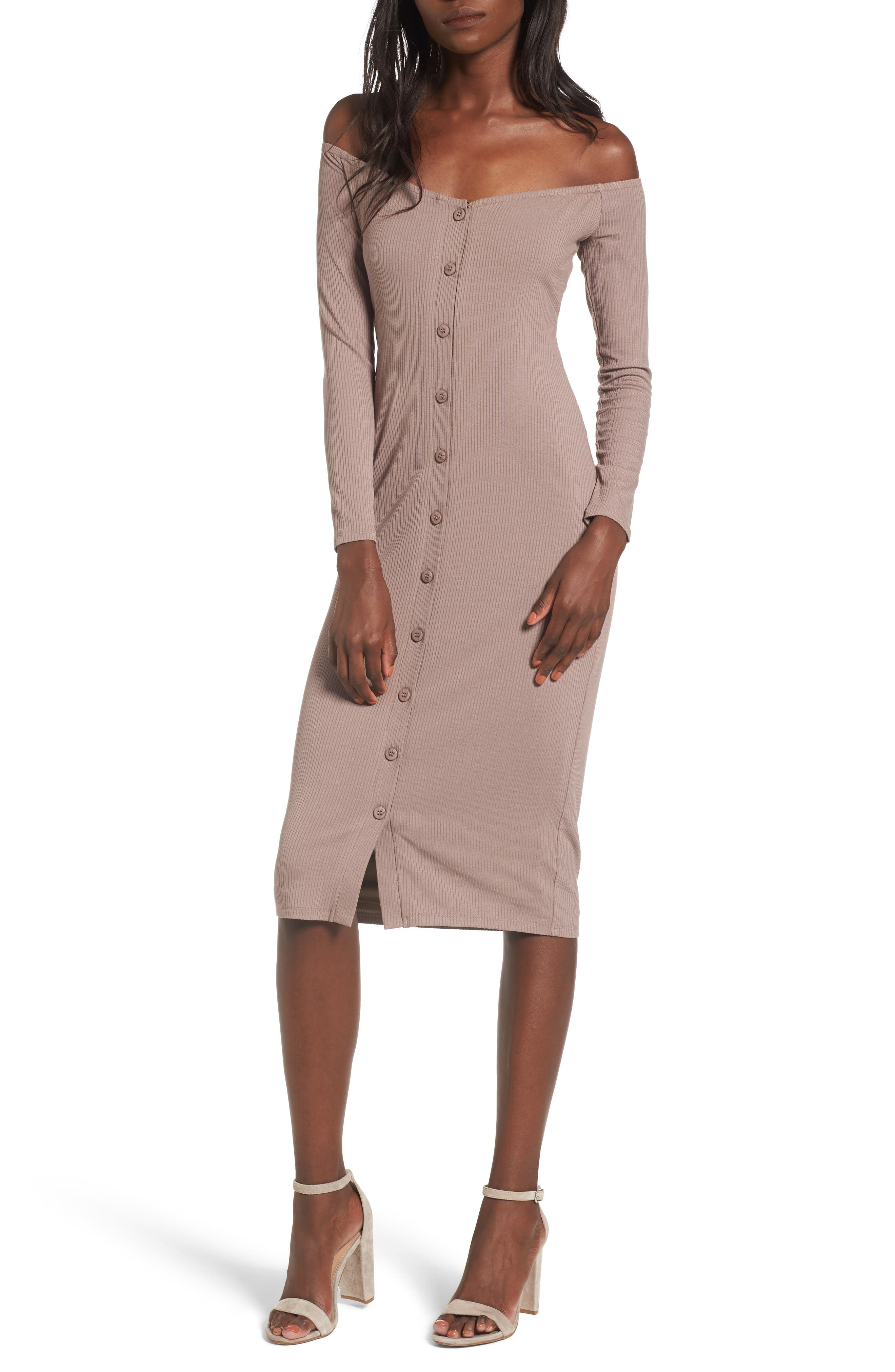 Albany Off the Shoulder Midi Dress,                         Main,                         color, Taupe