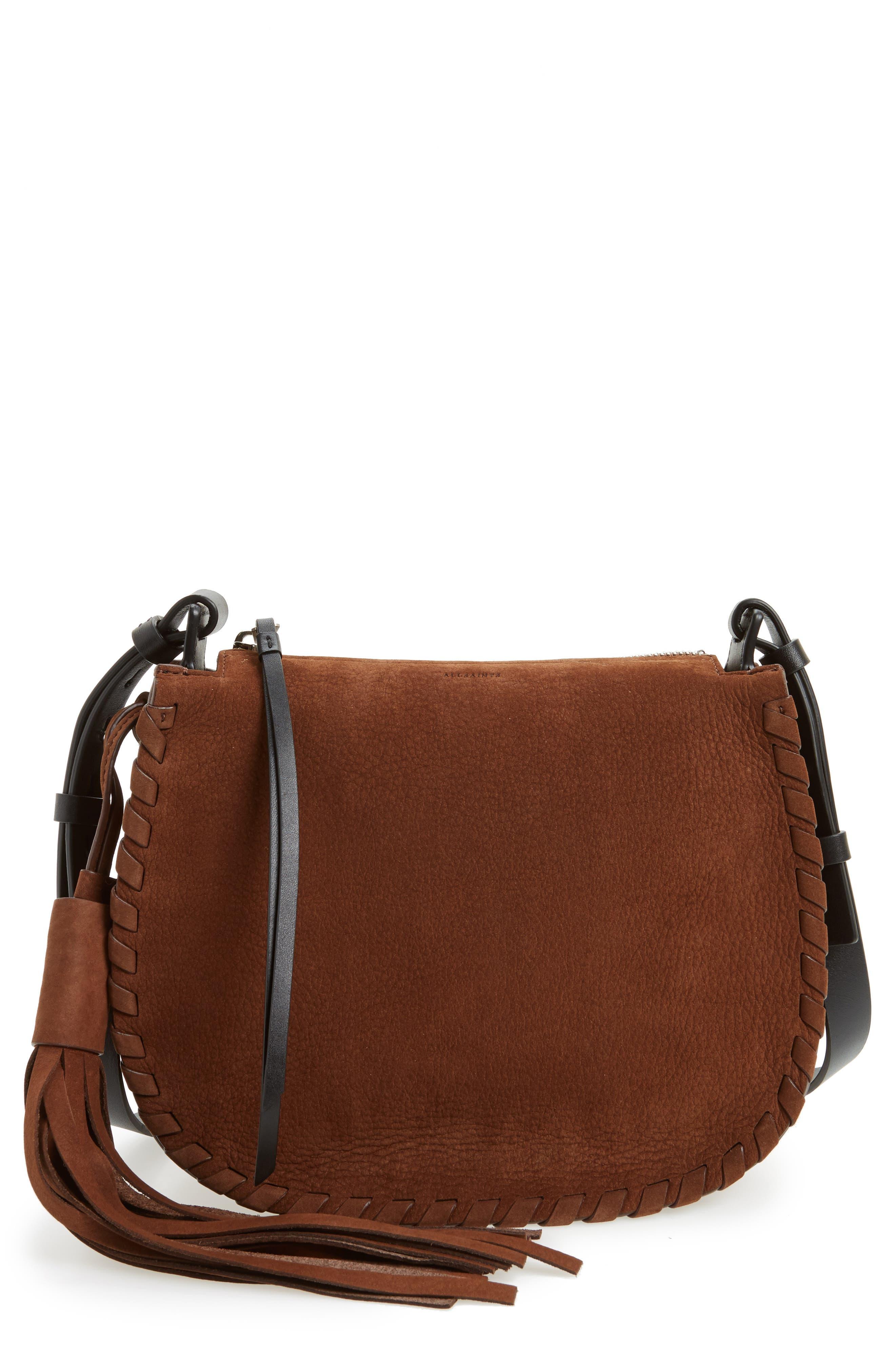Alternate Image 1 Selected - ALLSAINTS Mori Suede Crossbody Bag