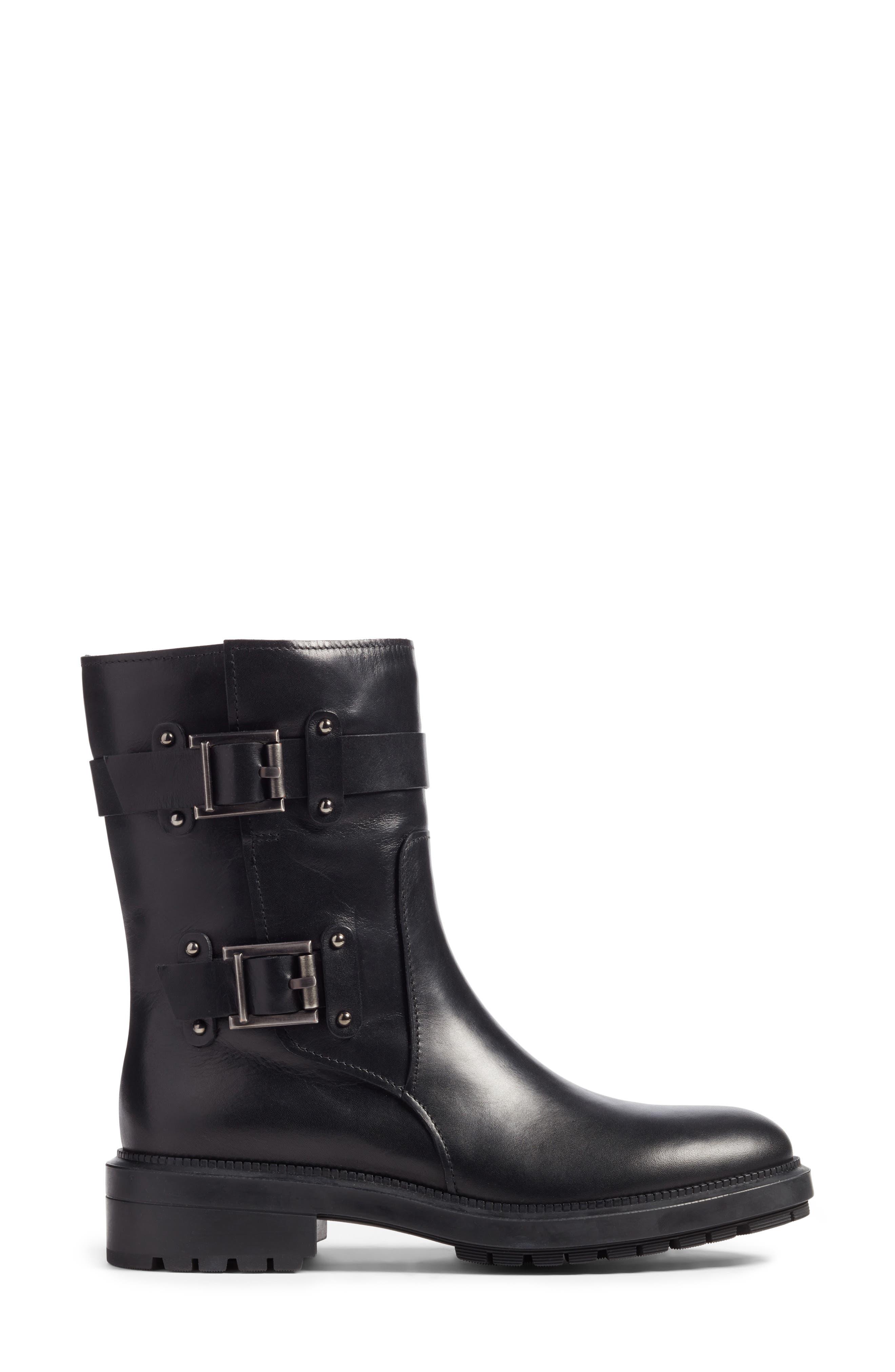 Leonie Weatherproof Leather Boot,                             Alternate thumbnail 4, color,                             Black Calf
