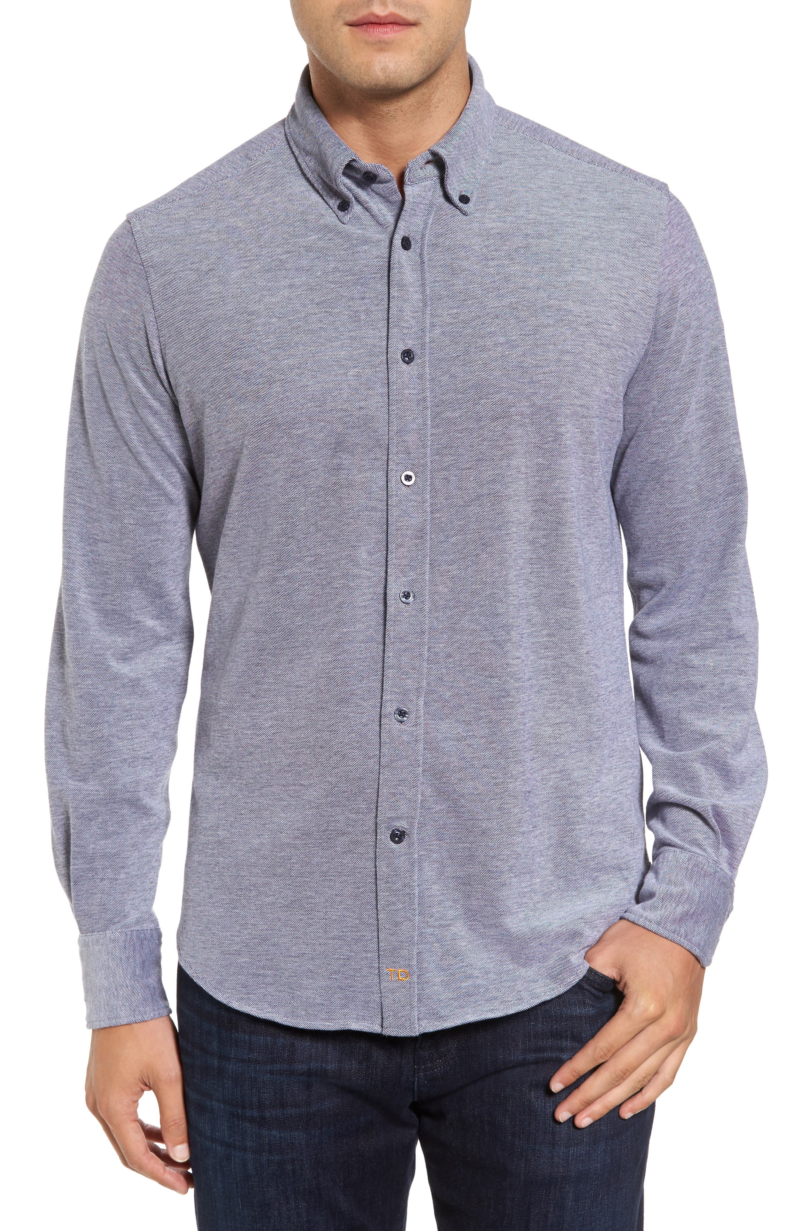 Alternate Image 1 Selected - Thomas Dean Regular Fit Oxford Piqué Sport Shirt