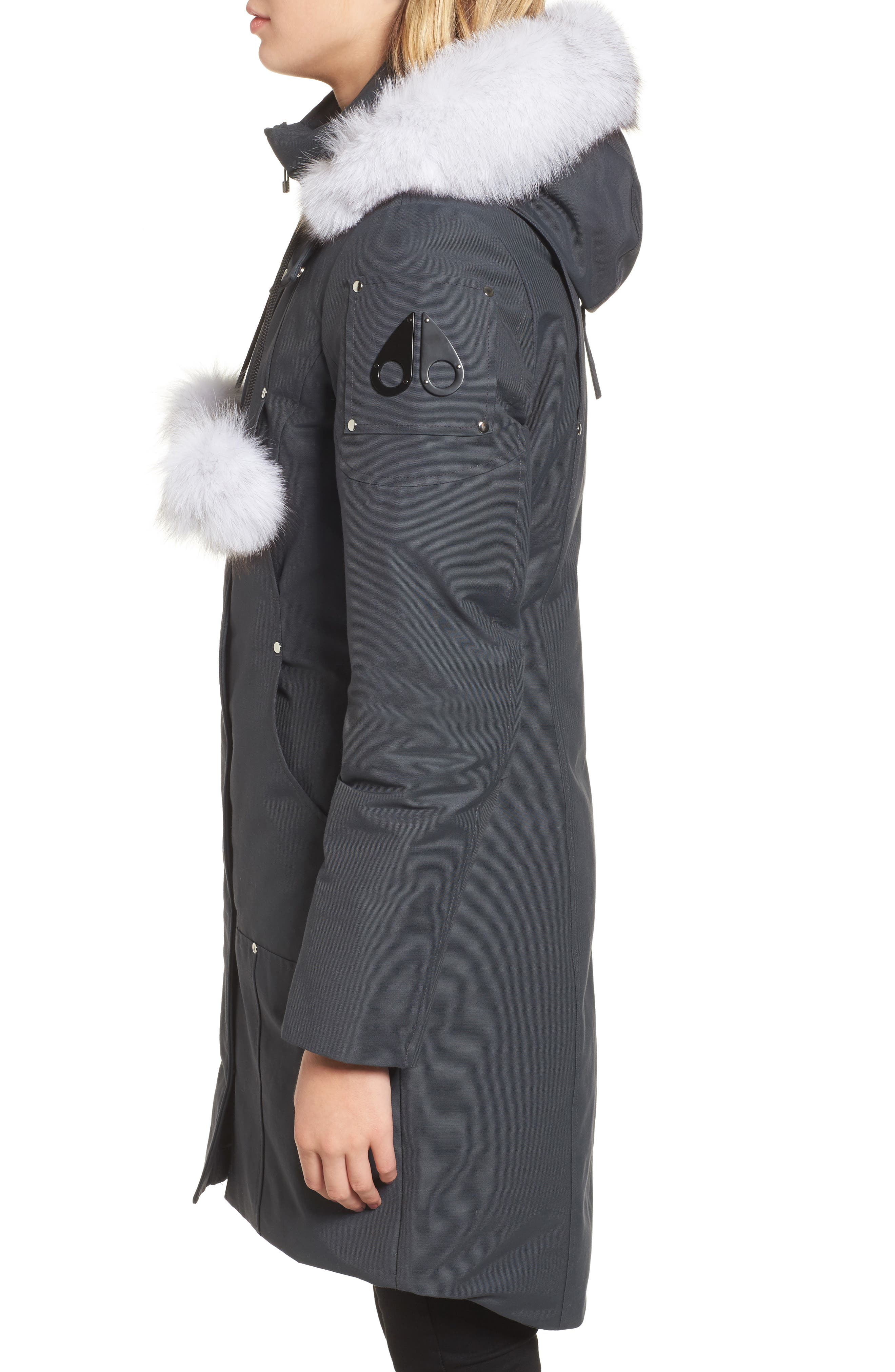 'Stirling' Down Parka with Genuine Fox Fur Trim,                             Alternate thumbnail 3, color,                             Granite/ White Fur