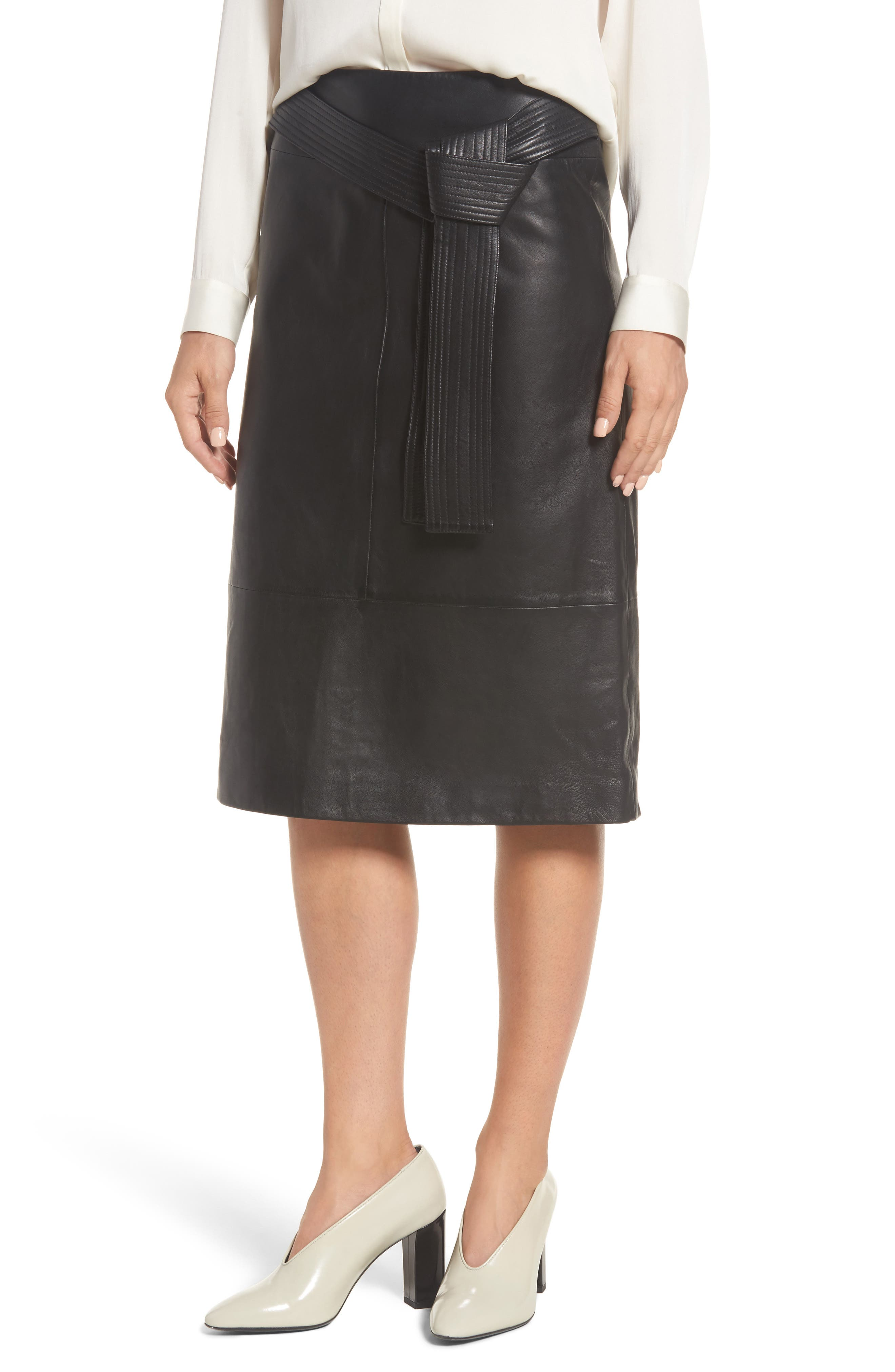 Belted Leather Skirt,                         Main,                         color, Black Caviar
