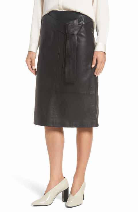 Emerson Rose Belted Leather Skirt