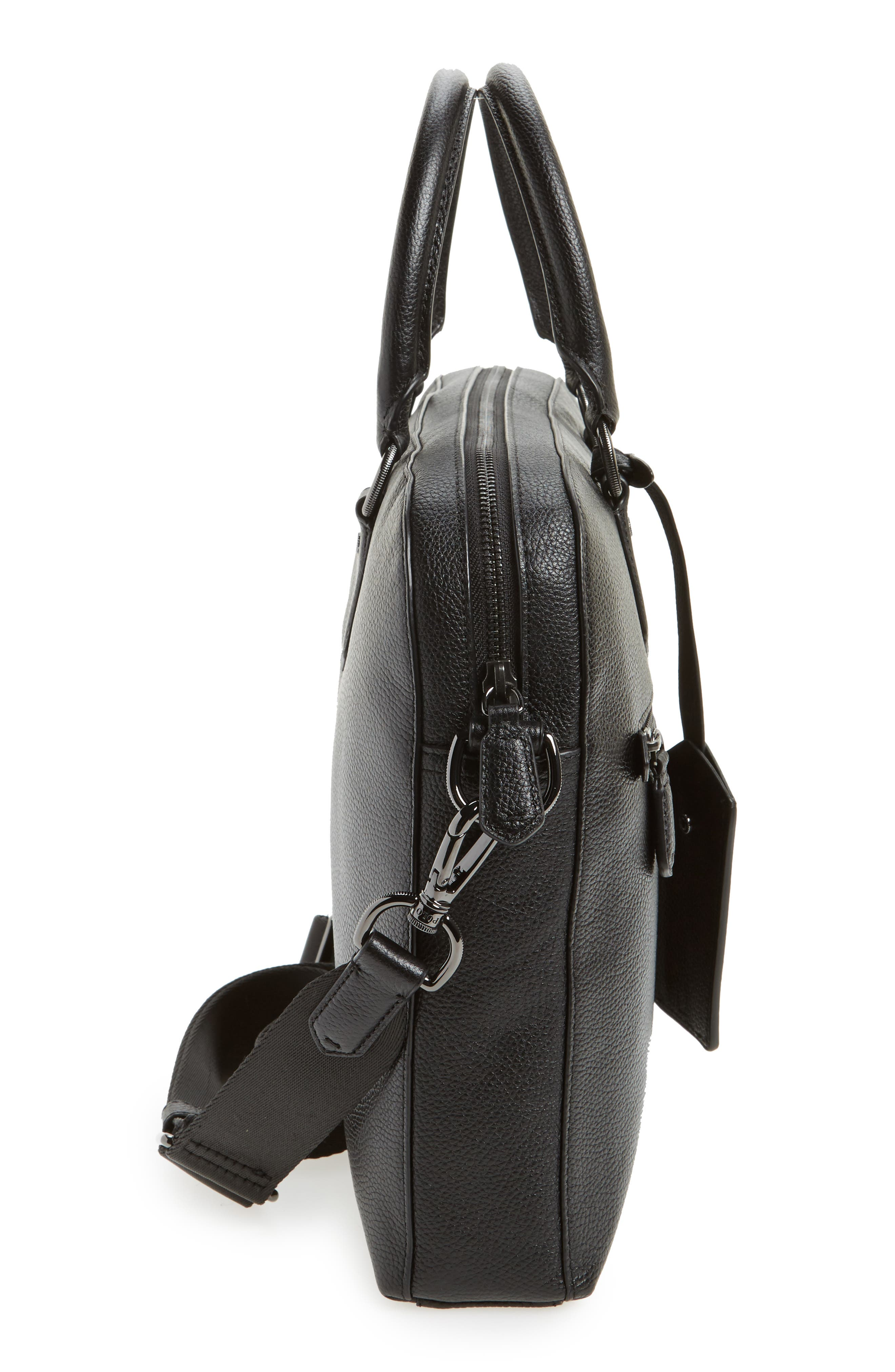 Commuter Leather Briefcase,                             Alternate thumbnail 5, color,                             Black