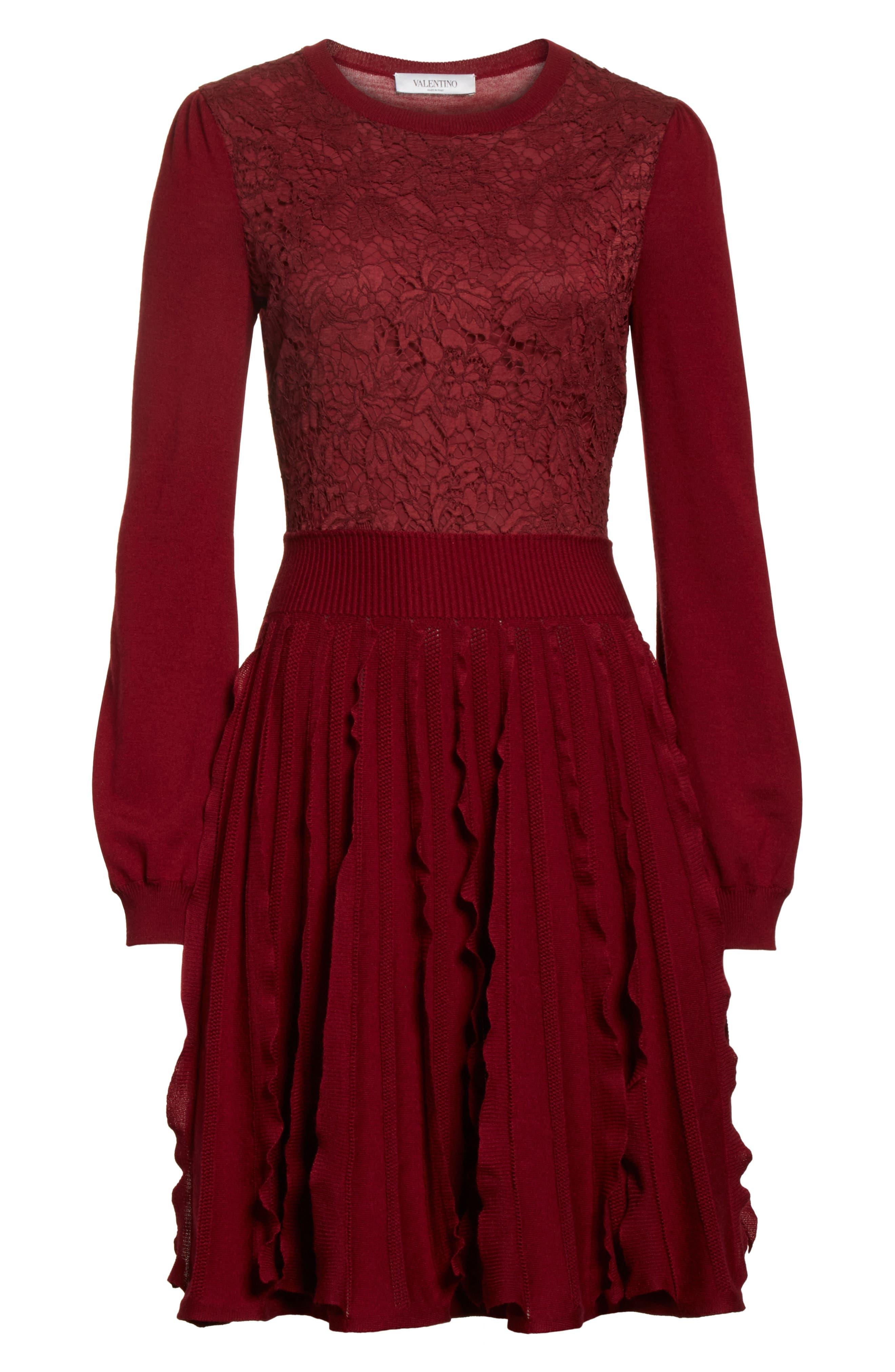 Alternate Image 6  - Valentino Guipure Lace & Wool Knit Dress