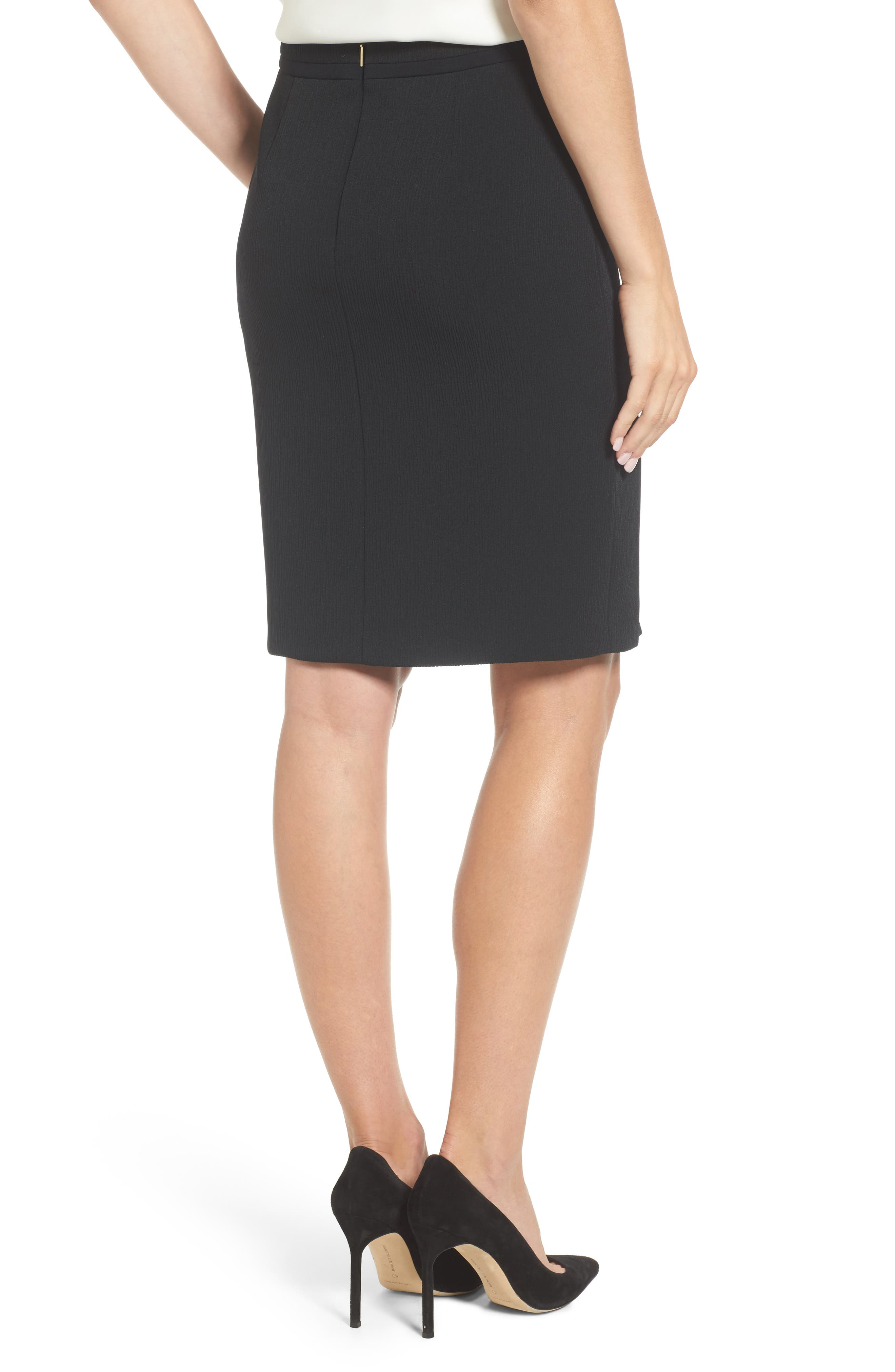 Vanafea Zip Front Crepe Pencil Skirt,                             Alternate thumbnail 2, color,                             Black