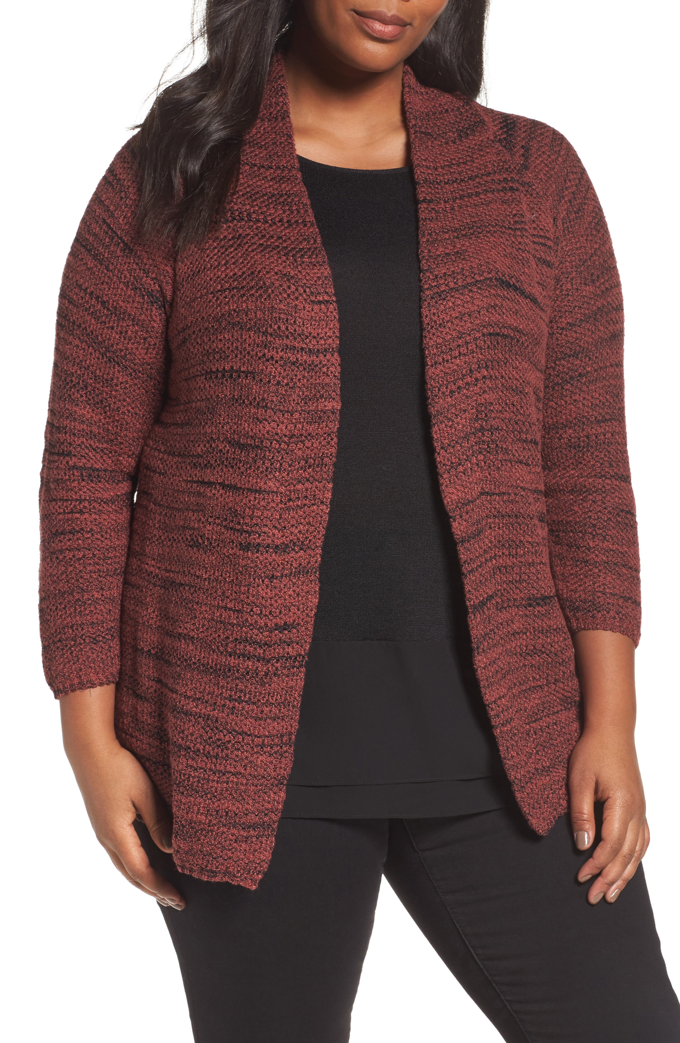 Alternate Image 1 Selected - NIC+ZOE Thick & Thin Cardigan (Plus Size)