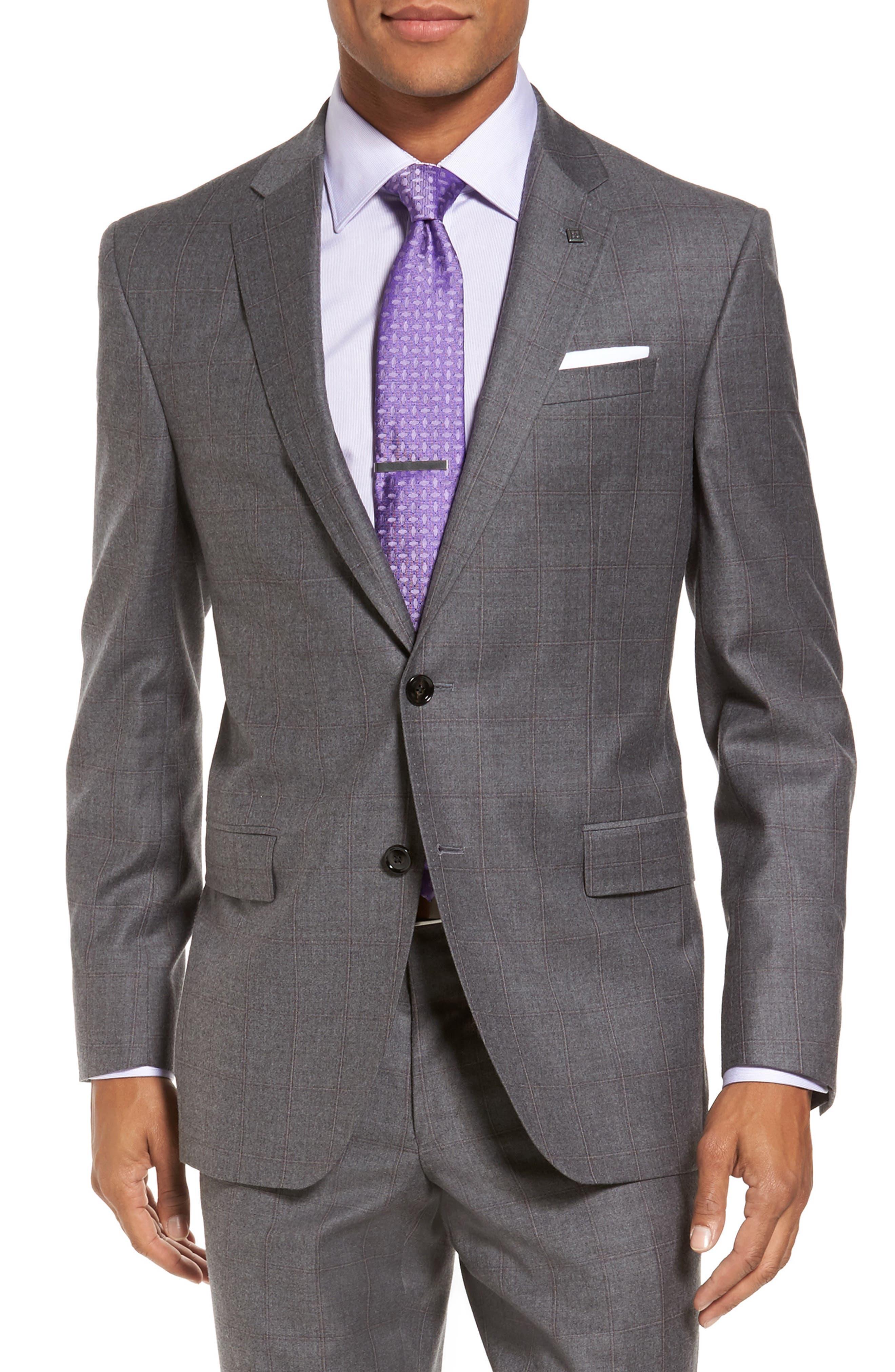 Alternate Image 5  - Ted Baker London Trim Fit Windowpane Wool Suit