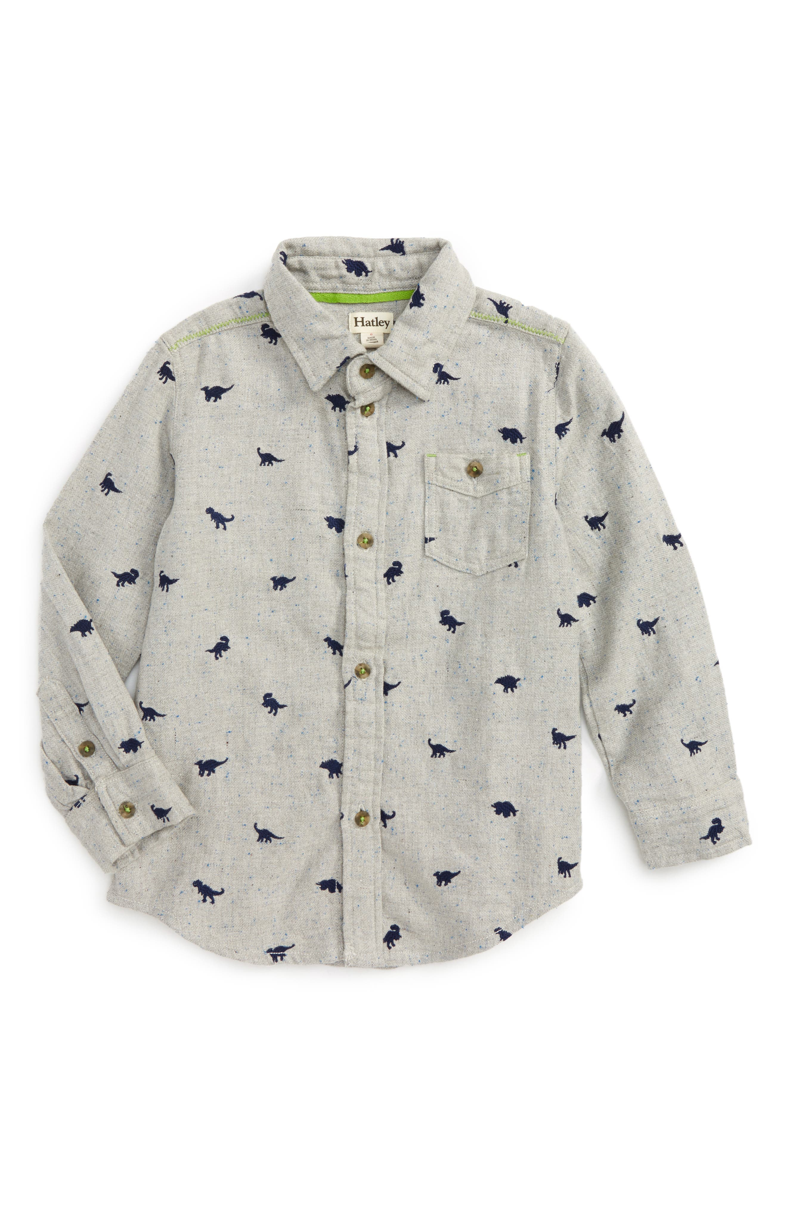 Hatley Dino Embroidered Flannel Shirt (Toddler Boys, Little Boys & Big Boys)
