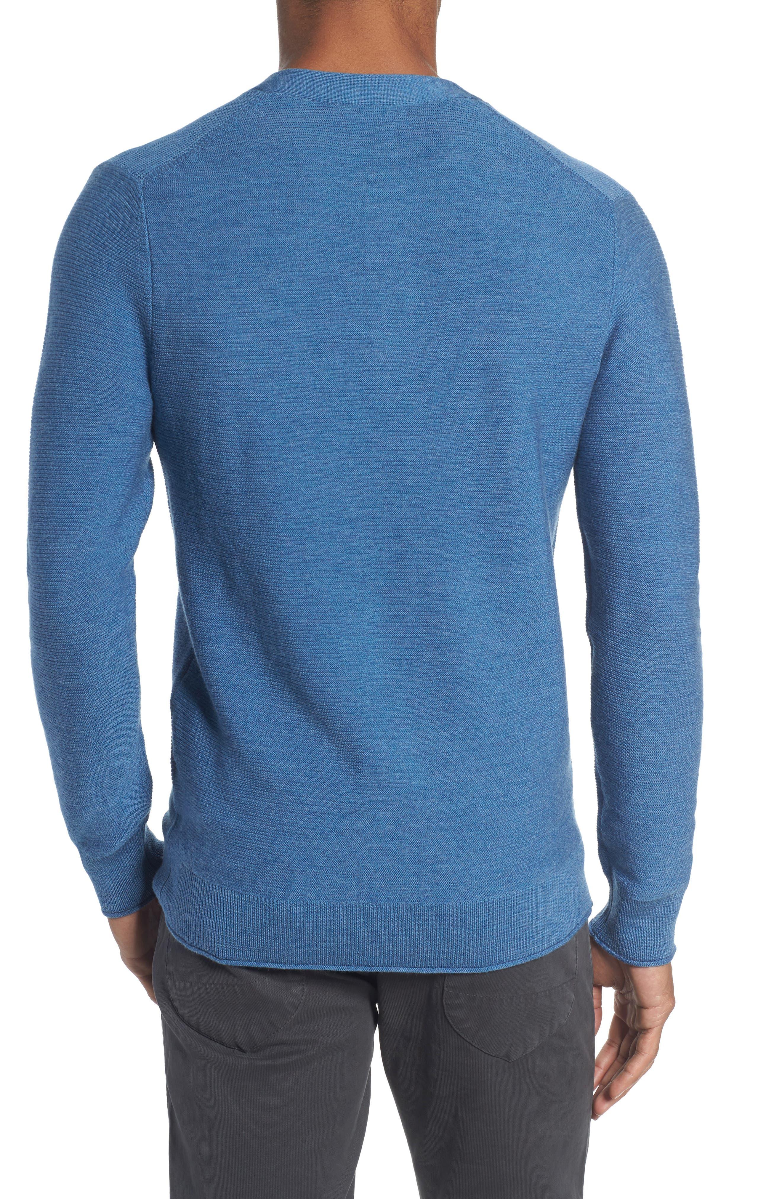 Slim Fit Merino Long Sleeve Henley Sweater,                             Alternate thumbnail 2, color,                             Heather Blue