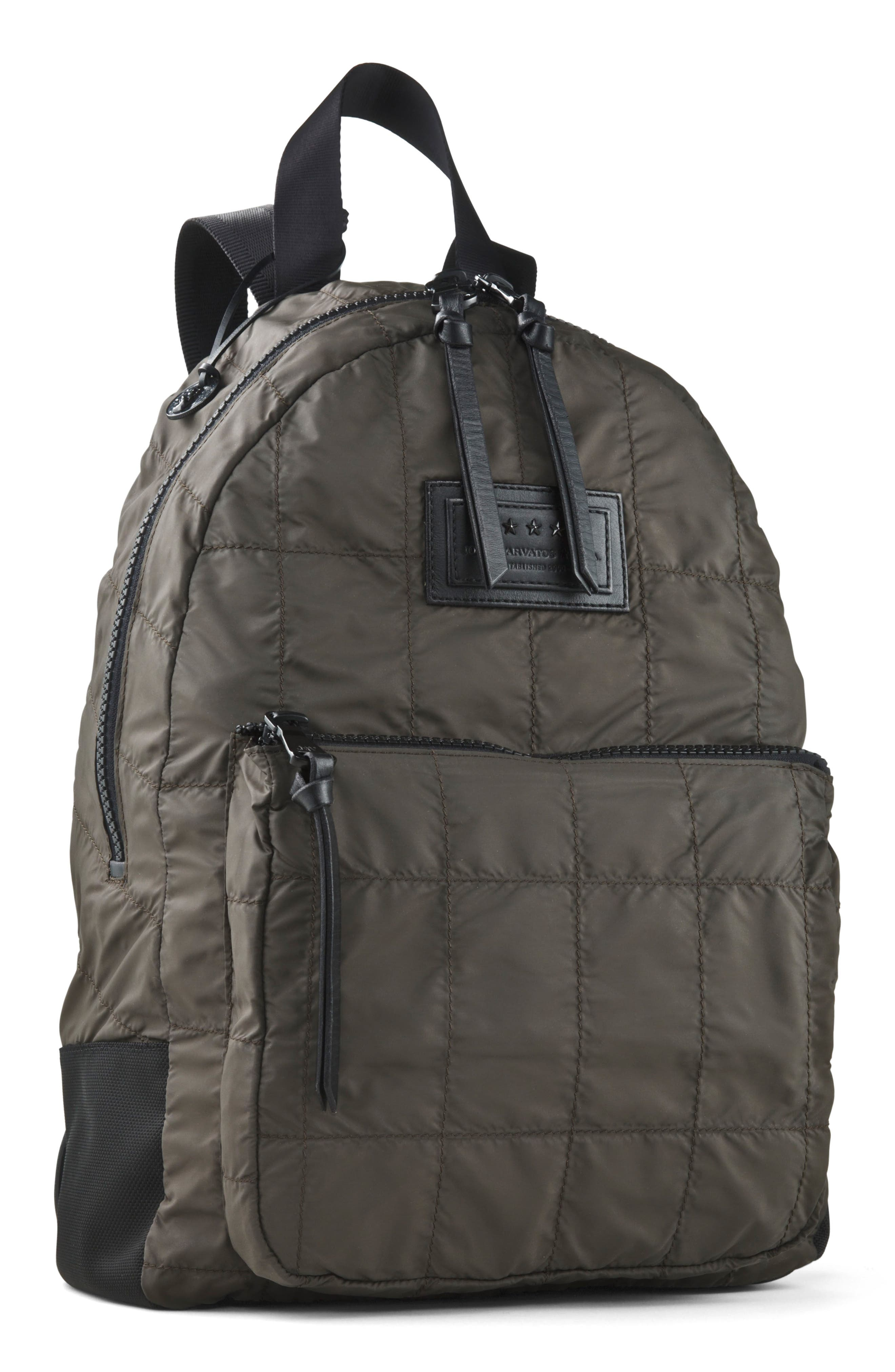Quilted Nylon Backpack,                         Main,                         color, Army Green