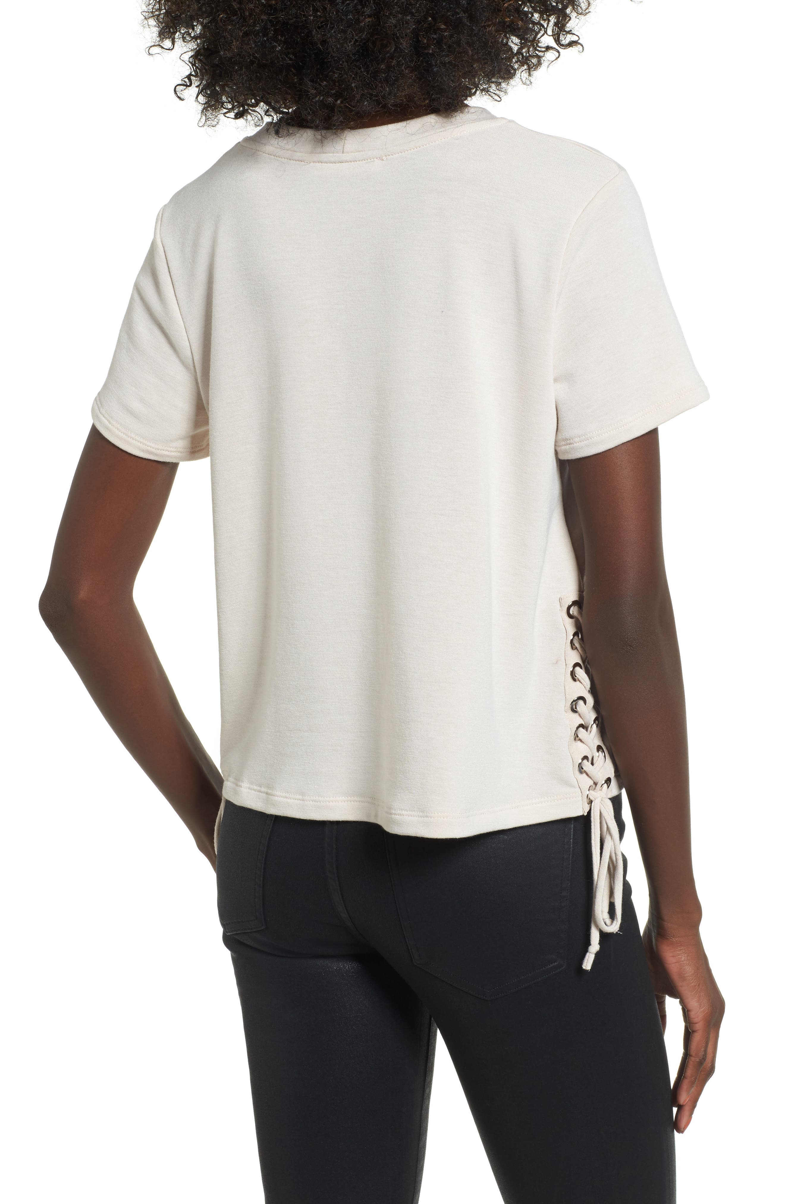 Lace-Up Tee,                             Alternate thumbnail 2, color,                             Oxford Tan