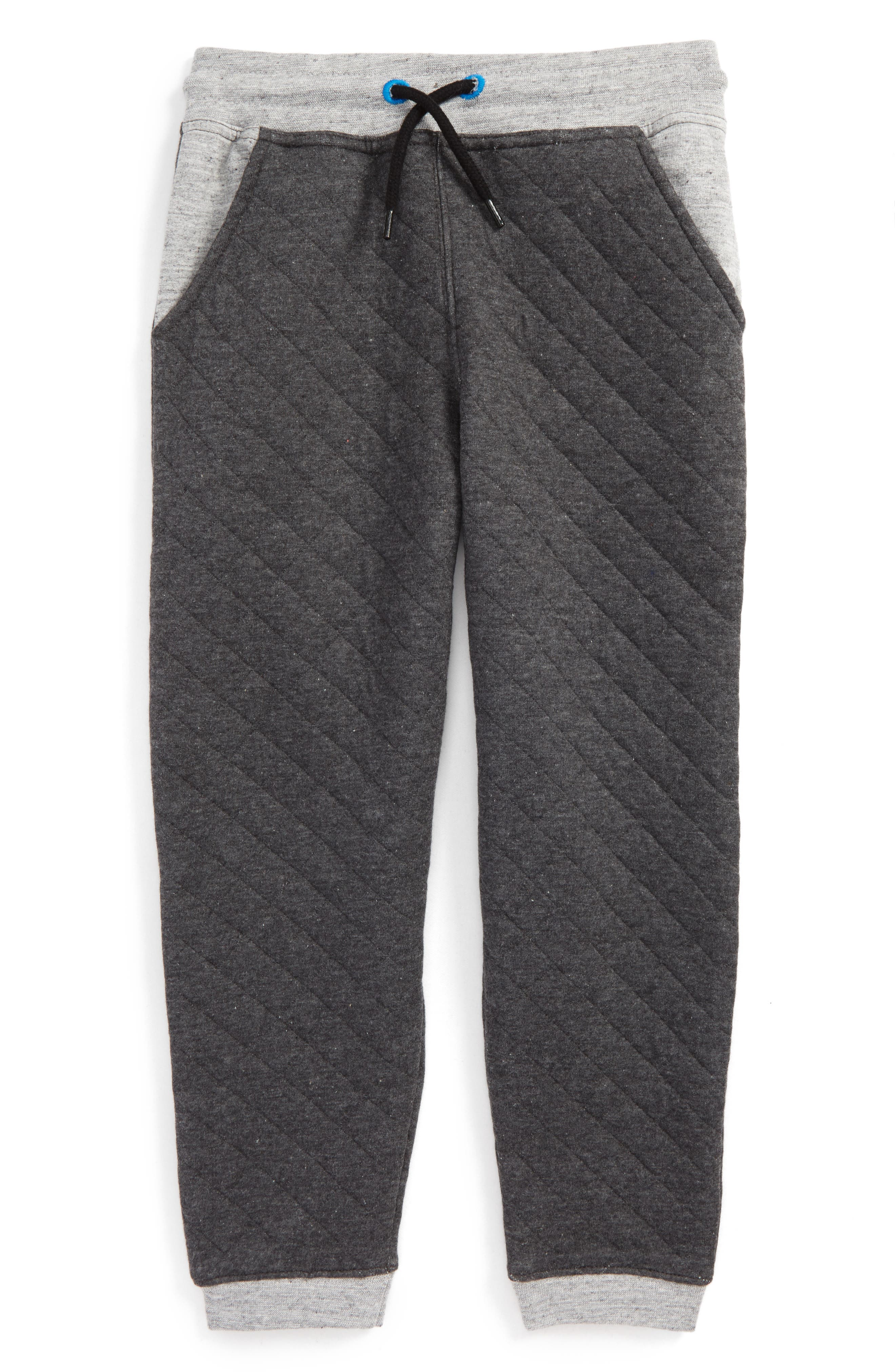 Quilted Athletic Jogger Pants,                             Main thumbnail 1, color,                             Gray