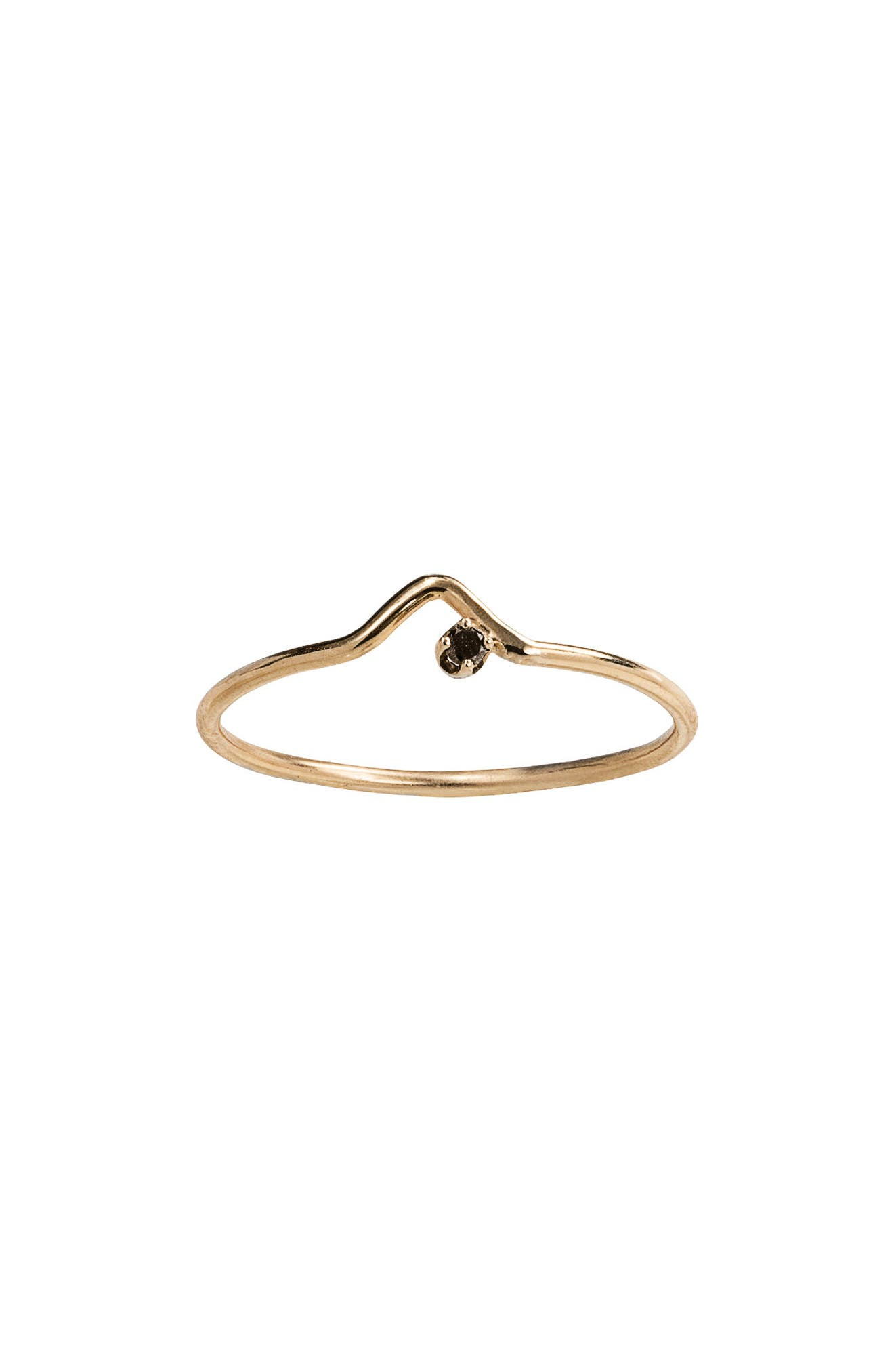 Triangle Lineage Black Diamond Ring,                         Main,                         color, Yellow Gold