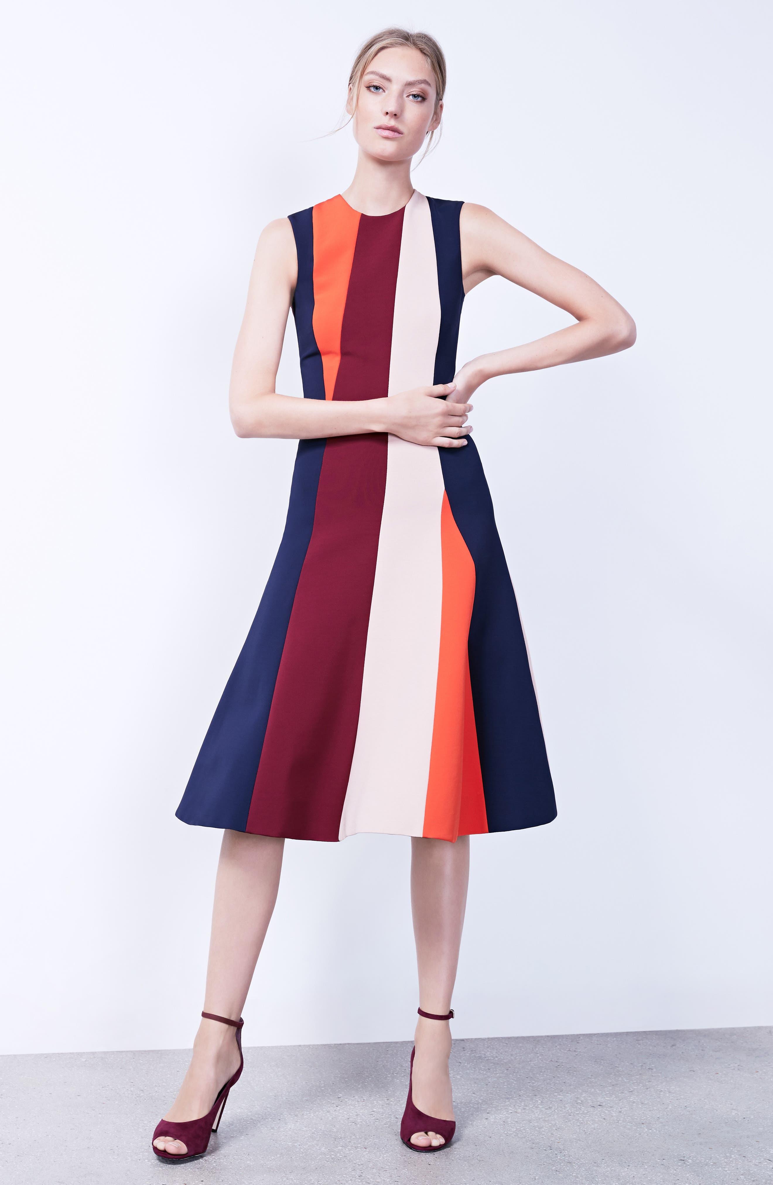 Stripe Flare Dress,                             Alternate thumbnail 2, color,                             Multi