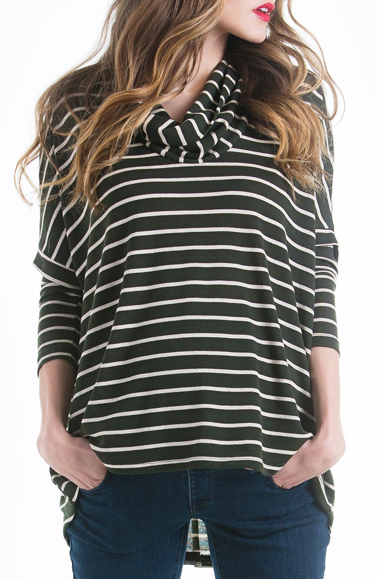 Stripe Cowl Neck Maternity Sweater,                         Main,                         color, Olive/ Ivory Stripe
