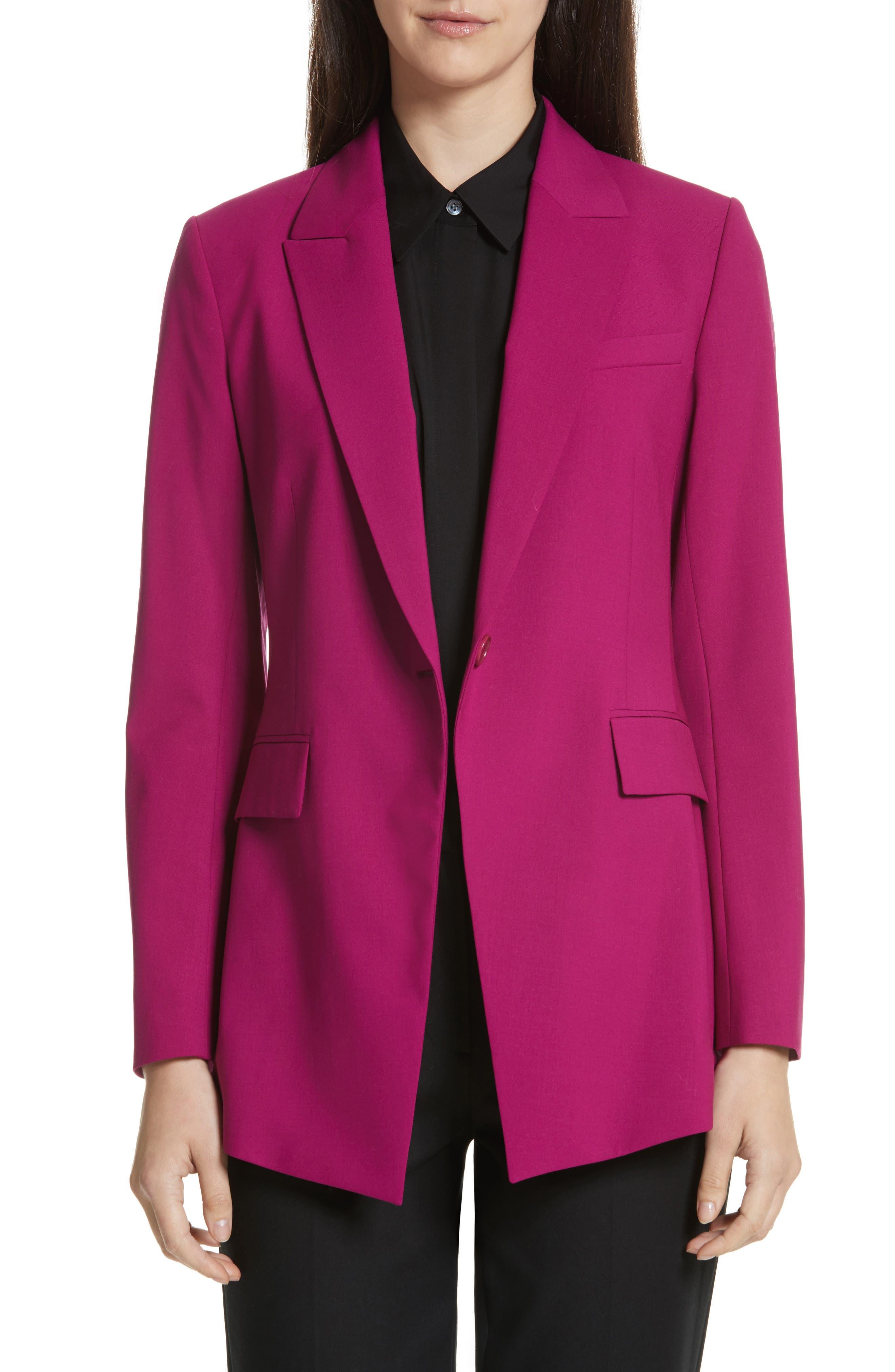 Etienette B Good Wool Suit Jacket,                             Main thumbnail 1, color,                             Electric Pink