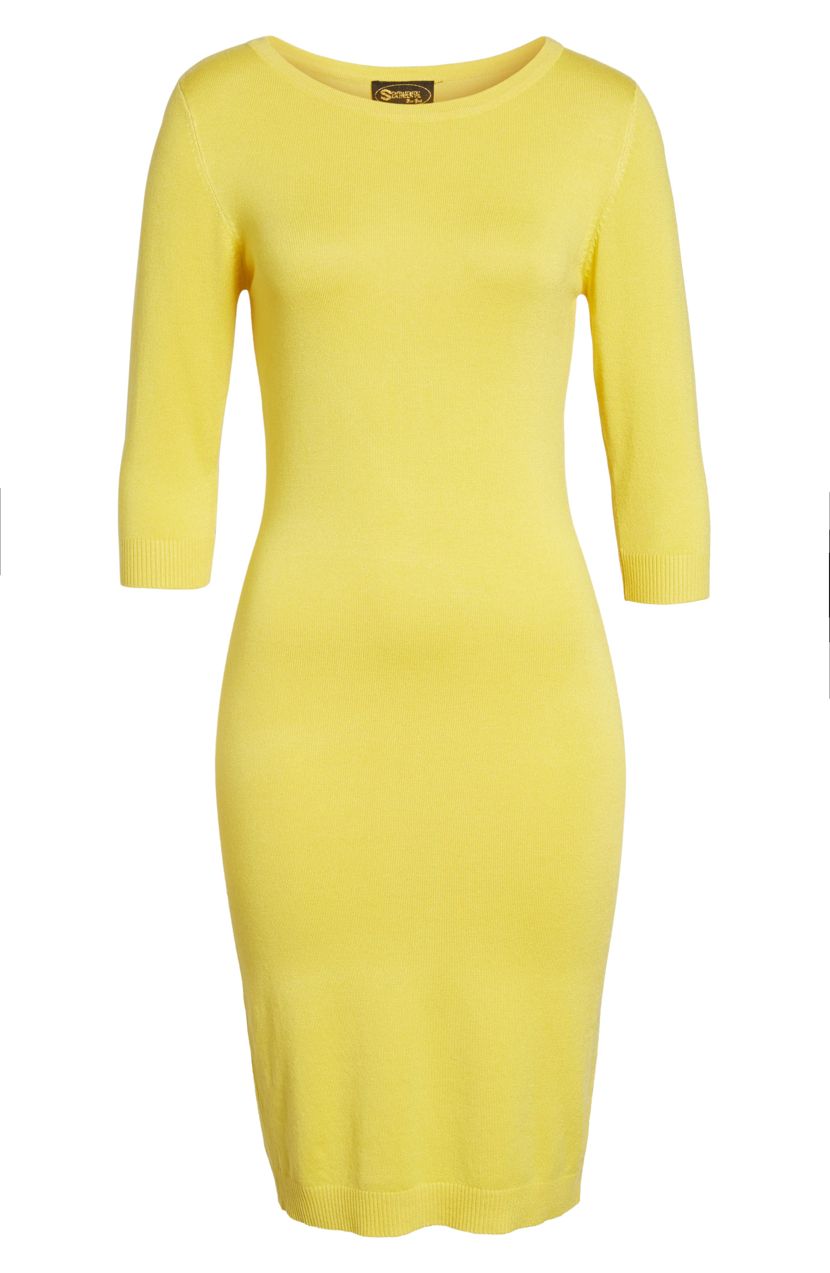 Elbow Sleeve Sweater Dress,                             Alternate thumbnail 6, color,                             Yellow