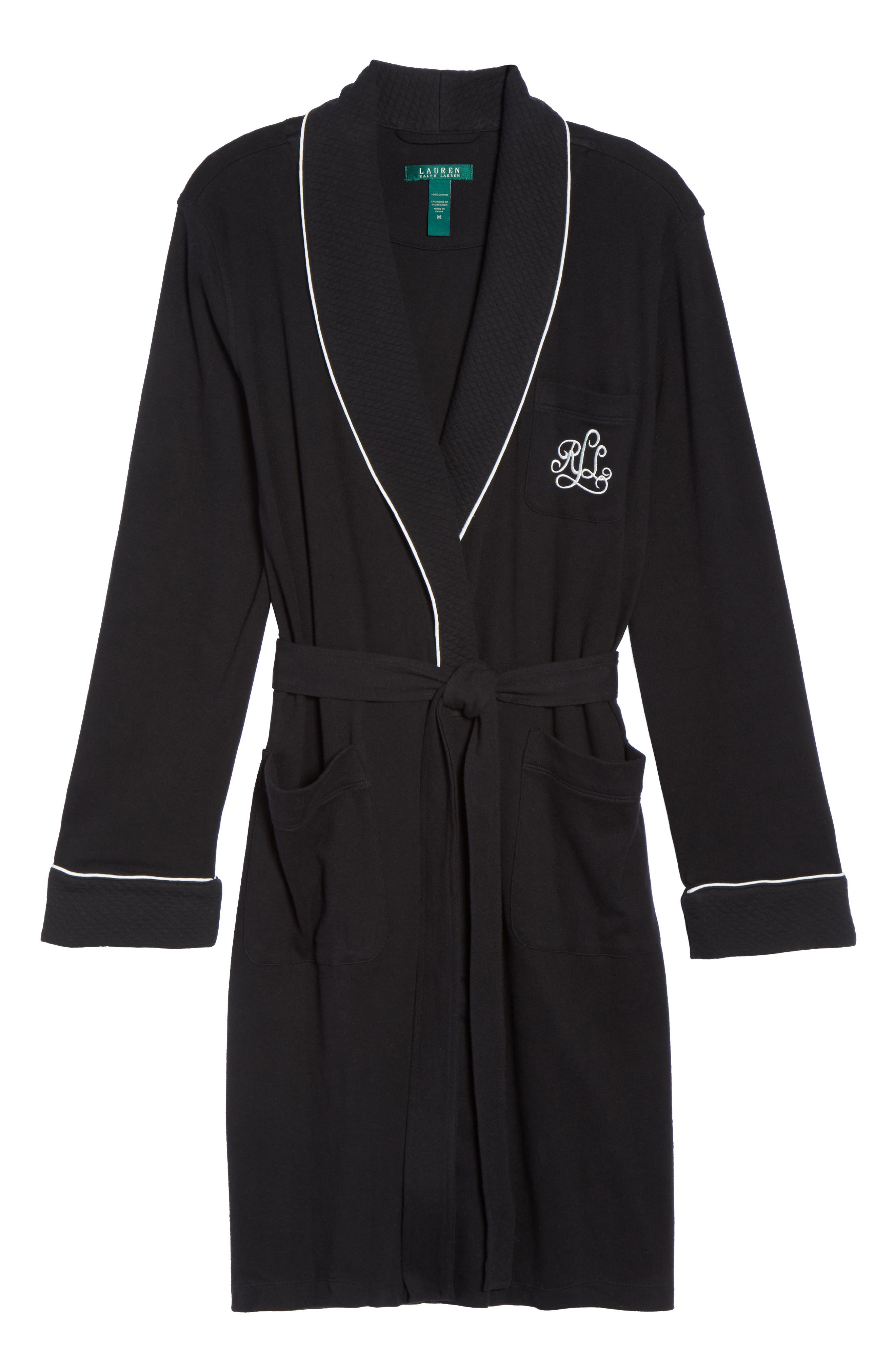 Quilted Collar Robe,                             Alternate thumbnail 6, color,                             Black