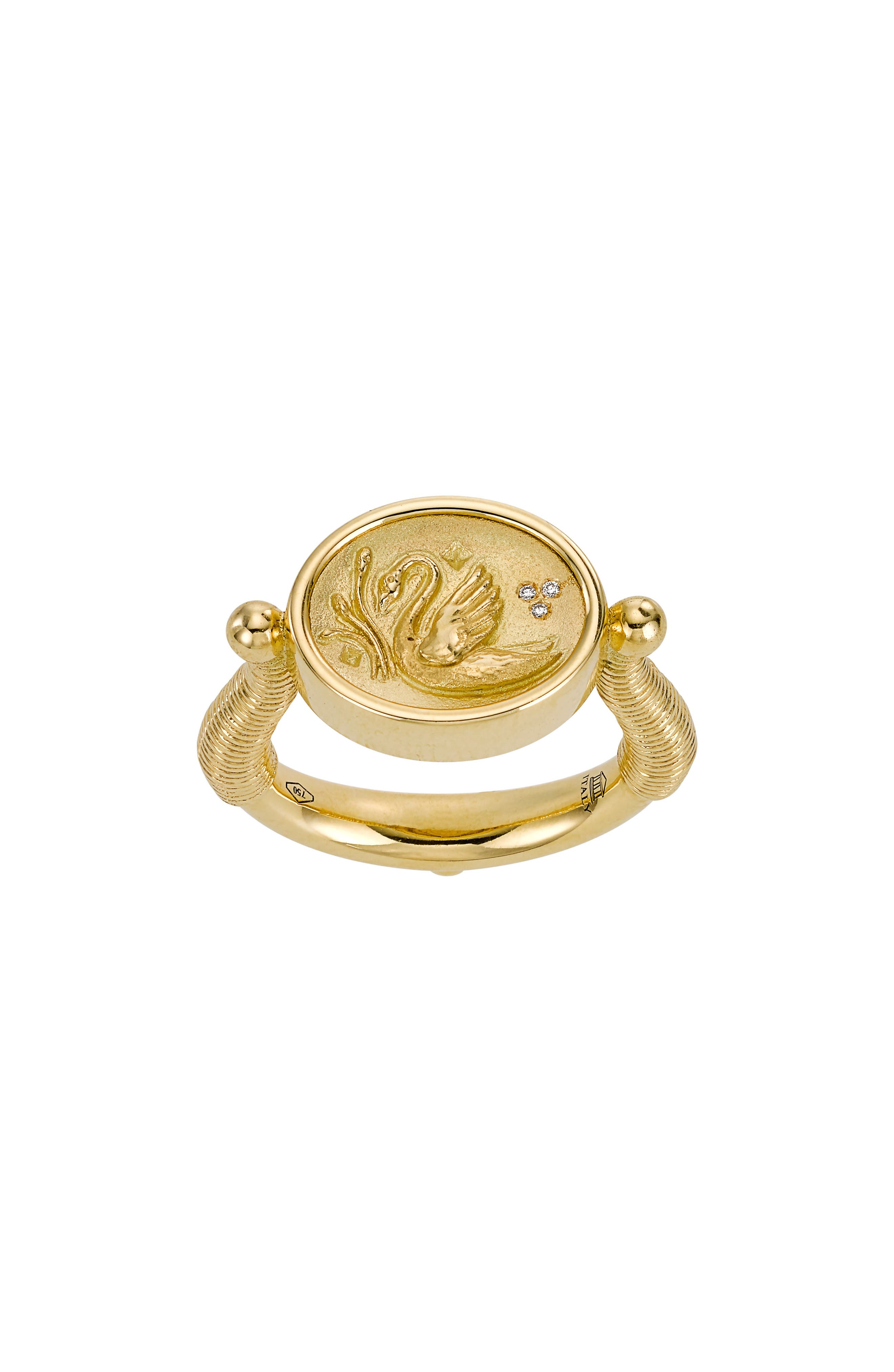 Temple St. Clair Object Trouvé Swan Coin Diamond Ring