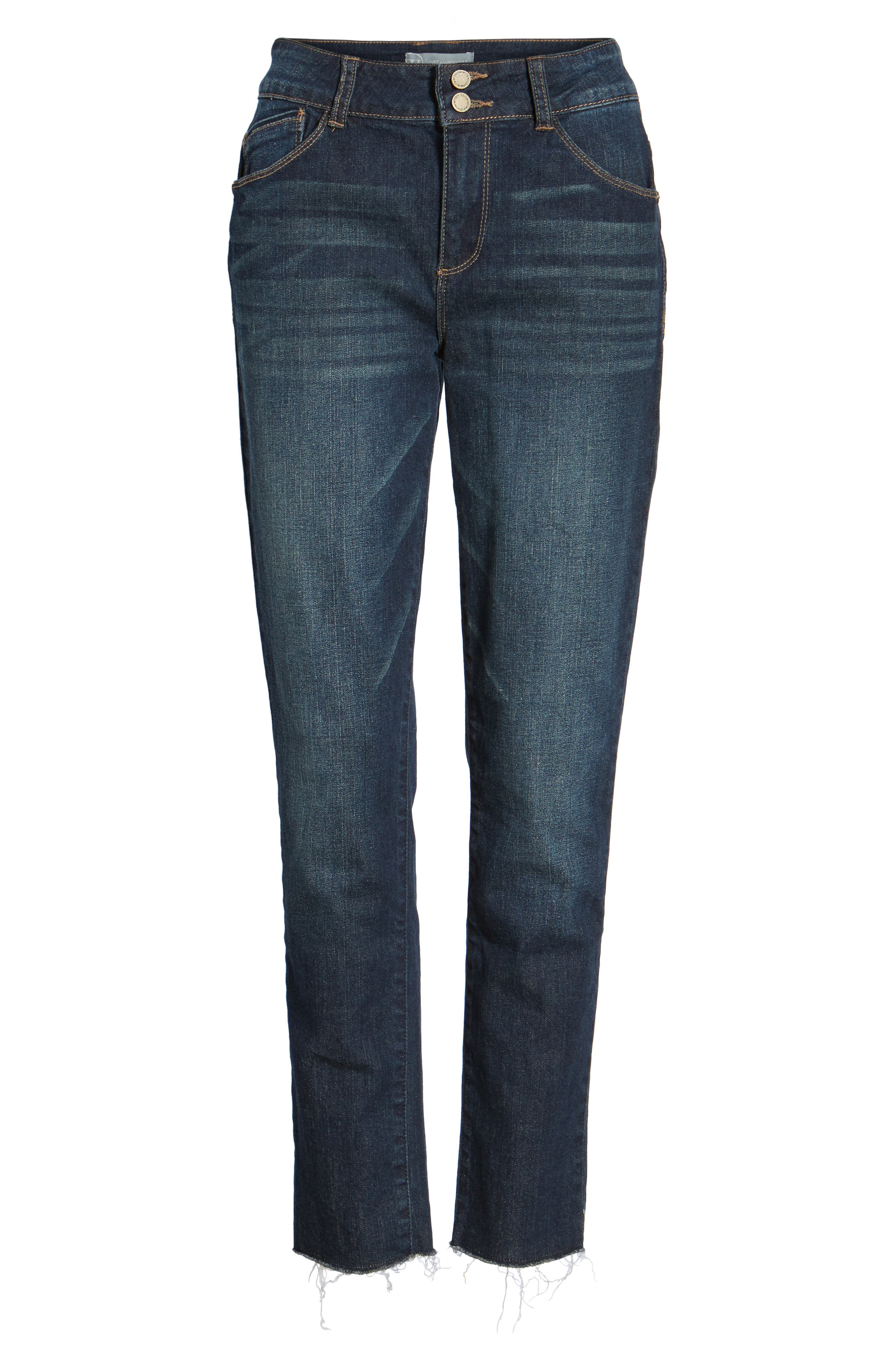 Two-Button High Waist Skinny Jeans,                             Alternate thumbnail 6, color,                             Indigo