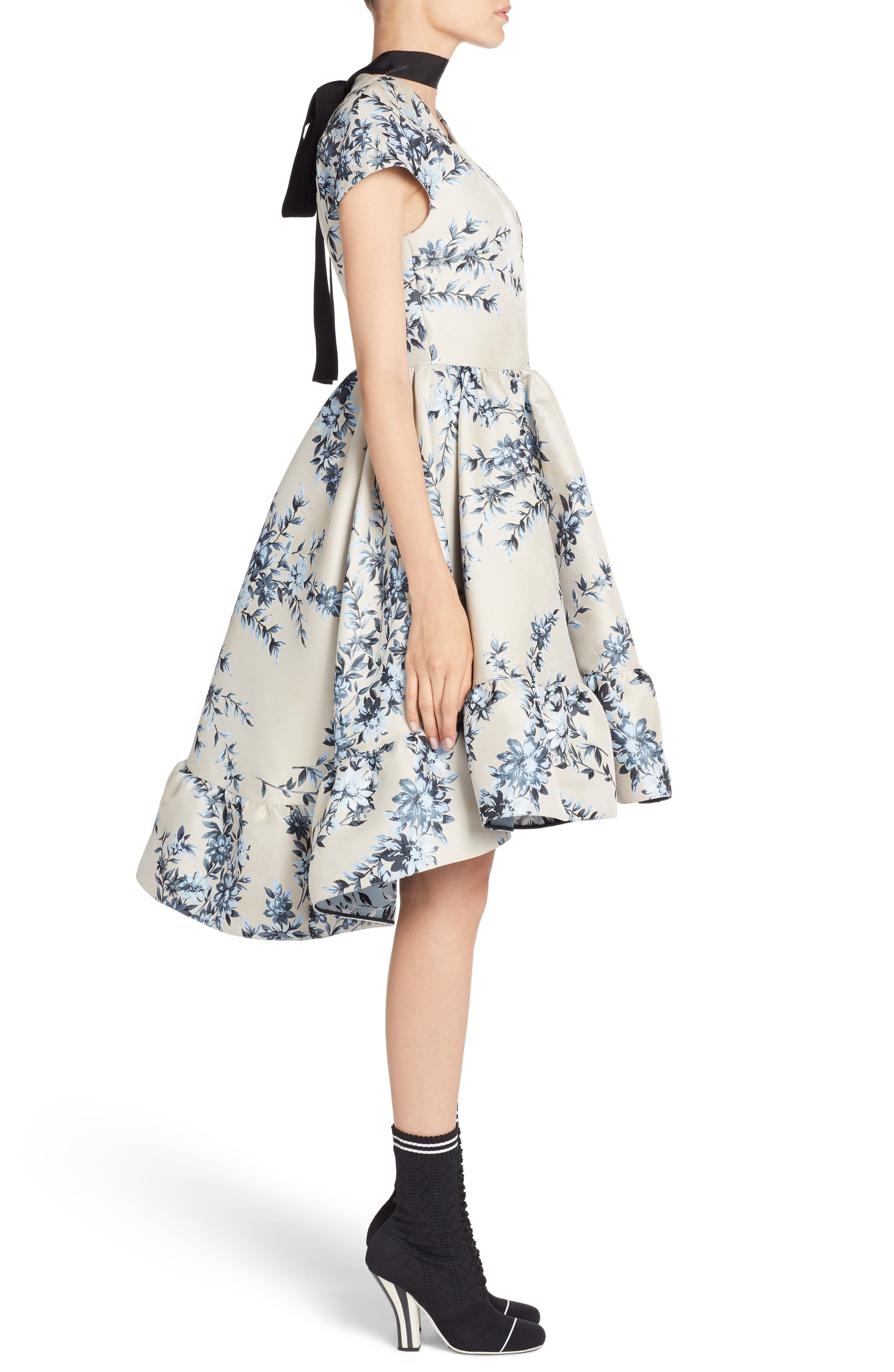 Floral Ramage Fit & Flare Dress,                             Alternate thumbnail 3, color,                             Faith Blue