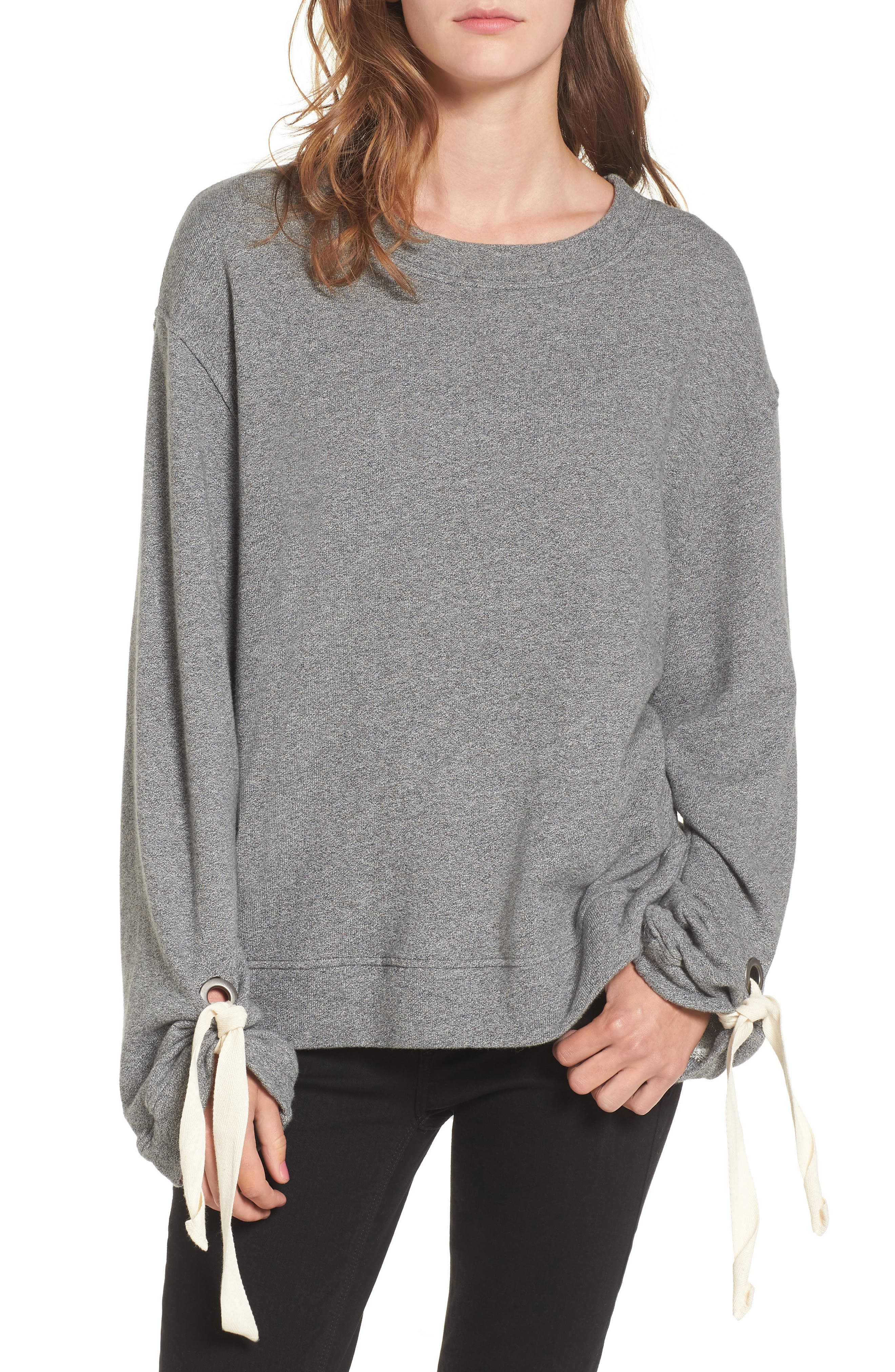Tie Sleeve Sweater,                             Main thumbnail 1, color,                             Dark Heather Grey
