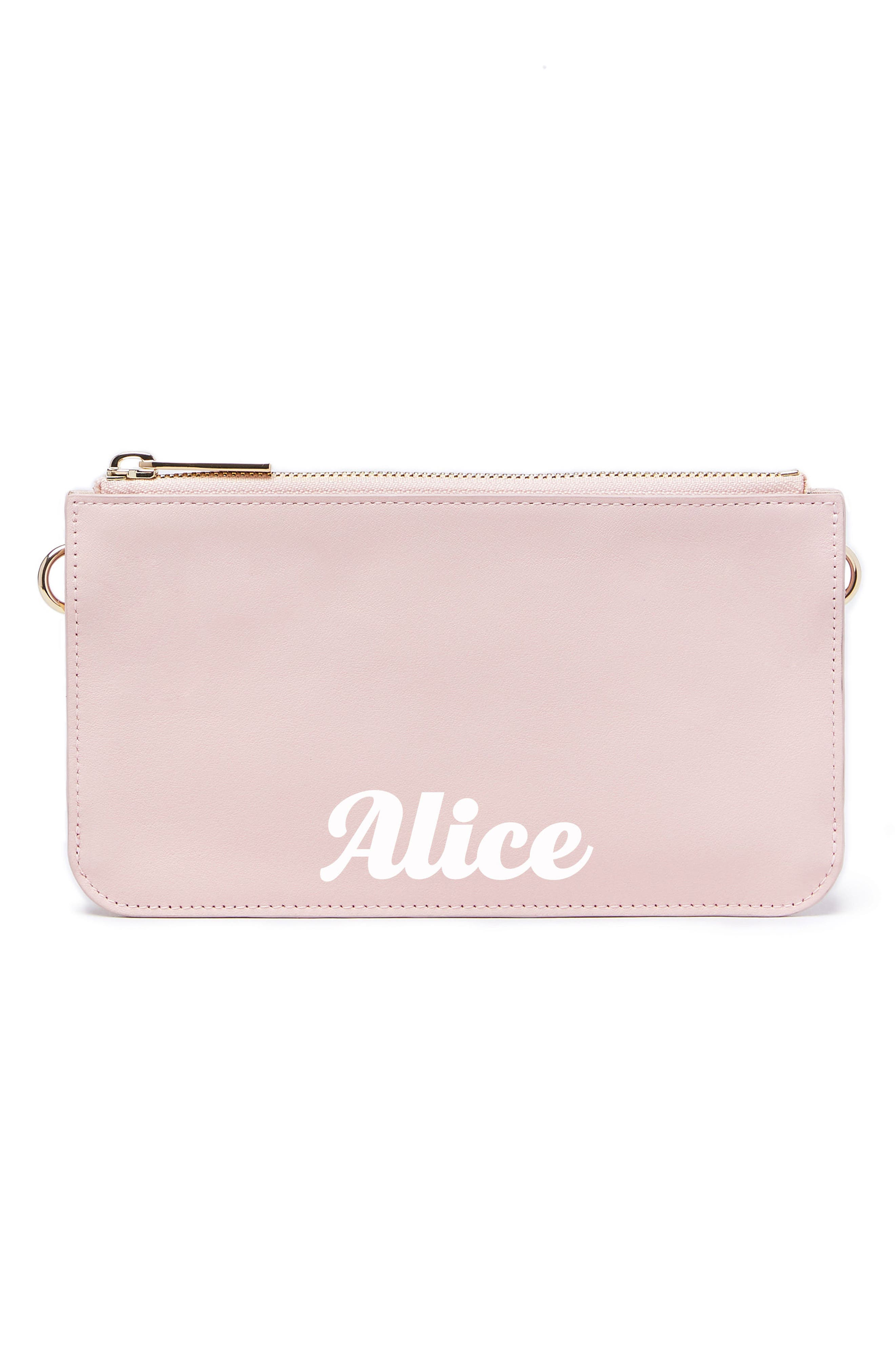 Personalized Leather Zip Pouch,                             Main thumbnail 1, color,                             Cotton Candy