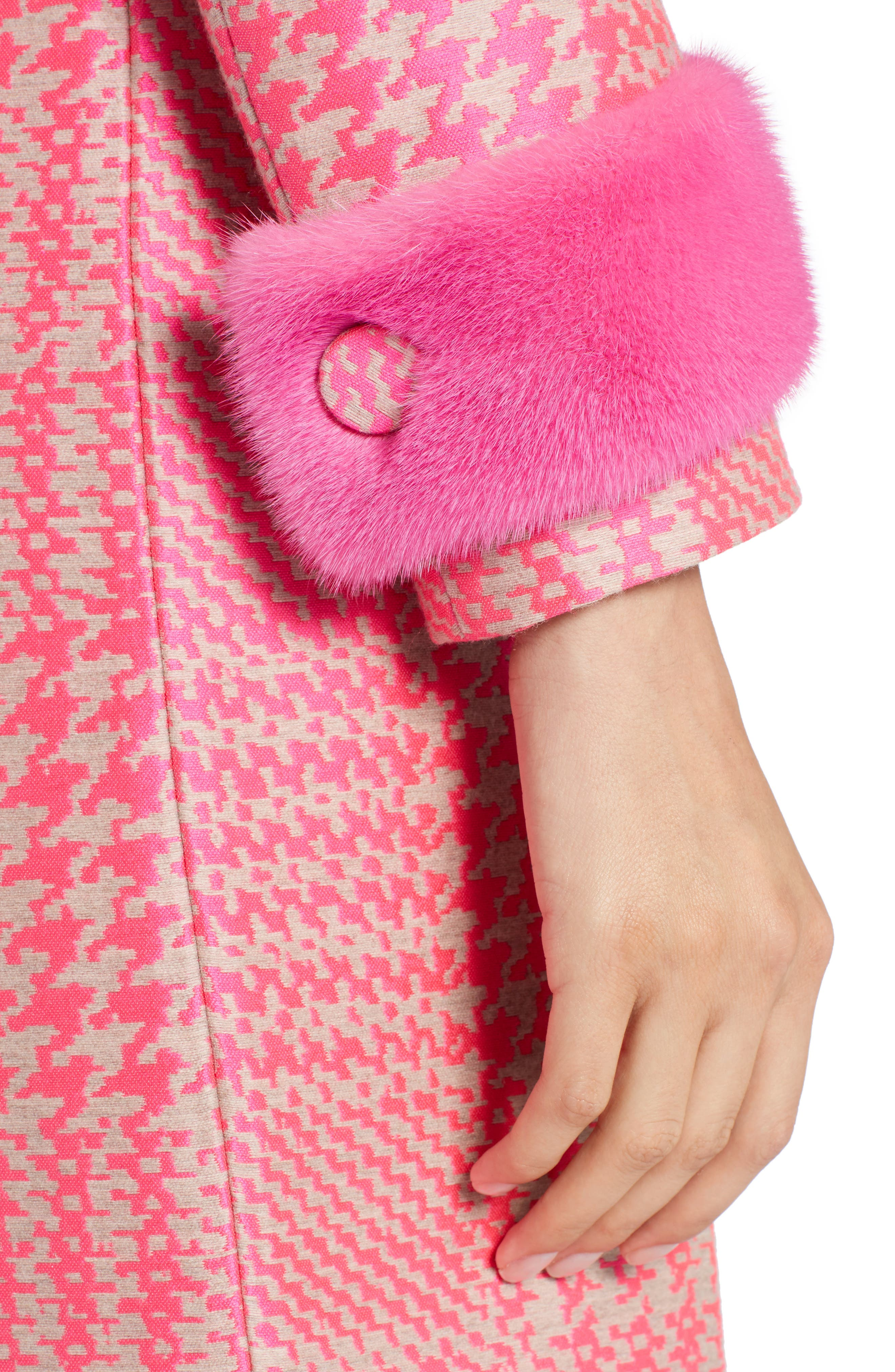 Pop Genuine Mink Fur Trim Prince of Wales Check Coat,                             Alternate thumbnail 4, color,                             Glamour Pink