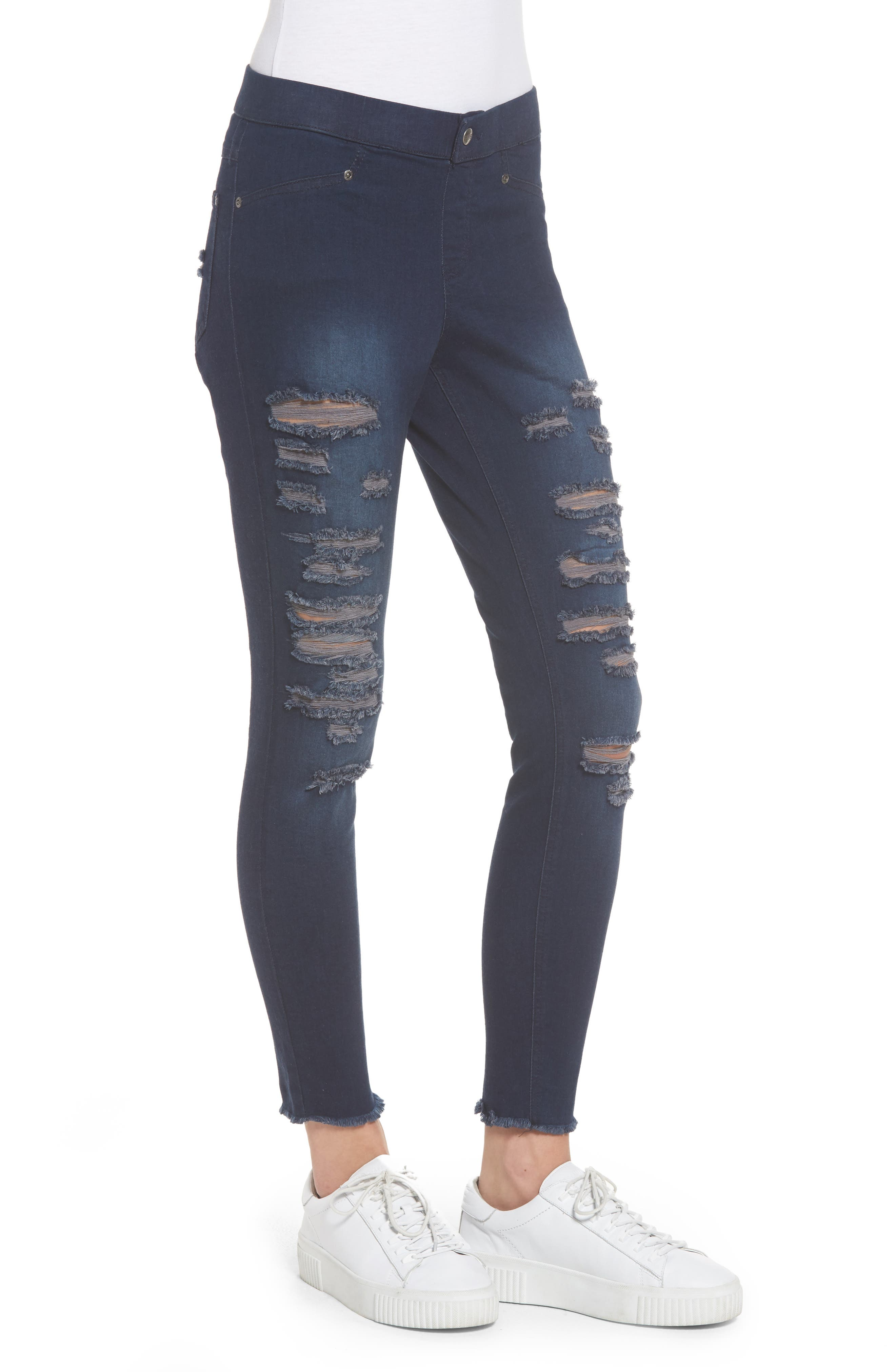 Ripped Denim Skimmer Leggings,                             Alternate thumbnail 3, color,                             Midnight Rinse Wash