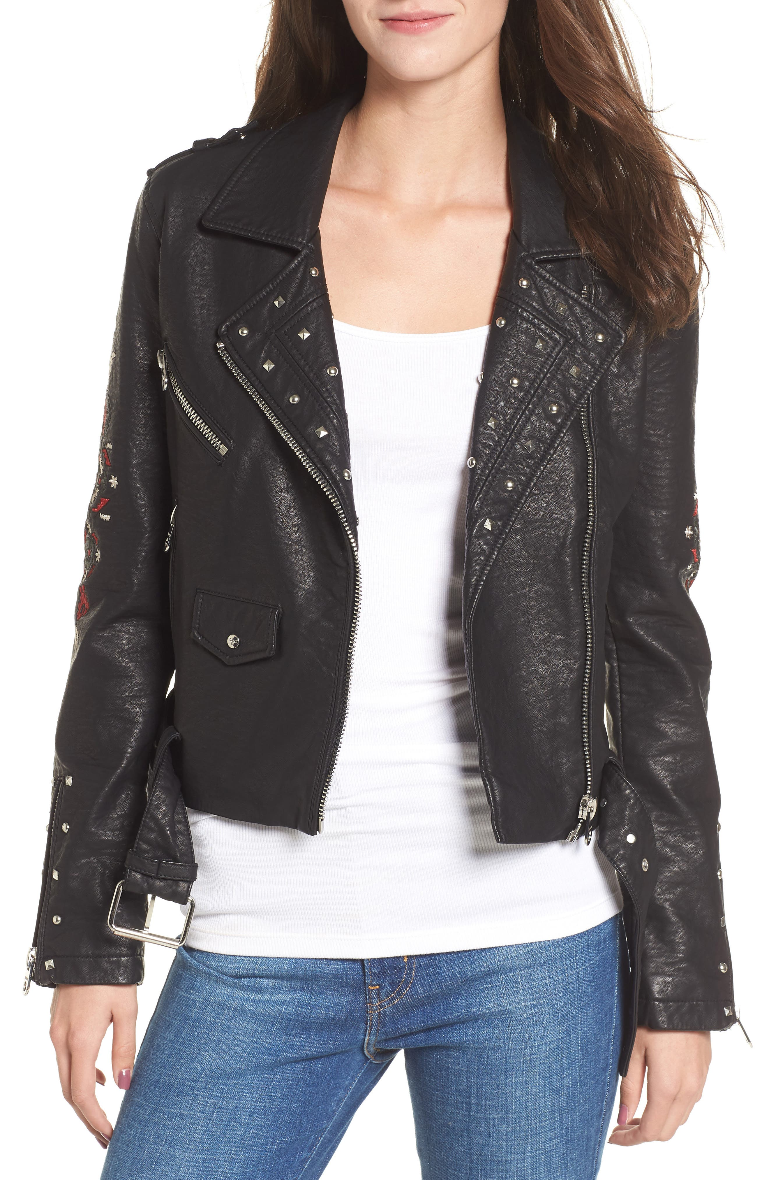 Studded & Embroidered Faux Leather Moto Jacket,                         Main,                         color, Black