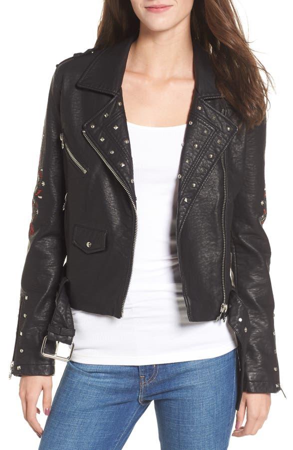 Main Image - Vigoss Studded & Embroidered Faux Leather Moto Jacket