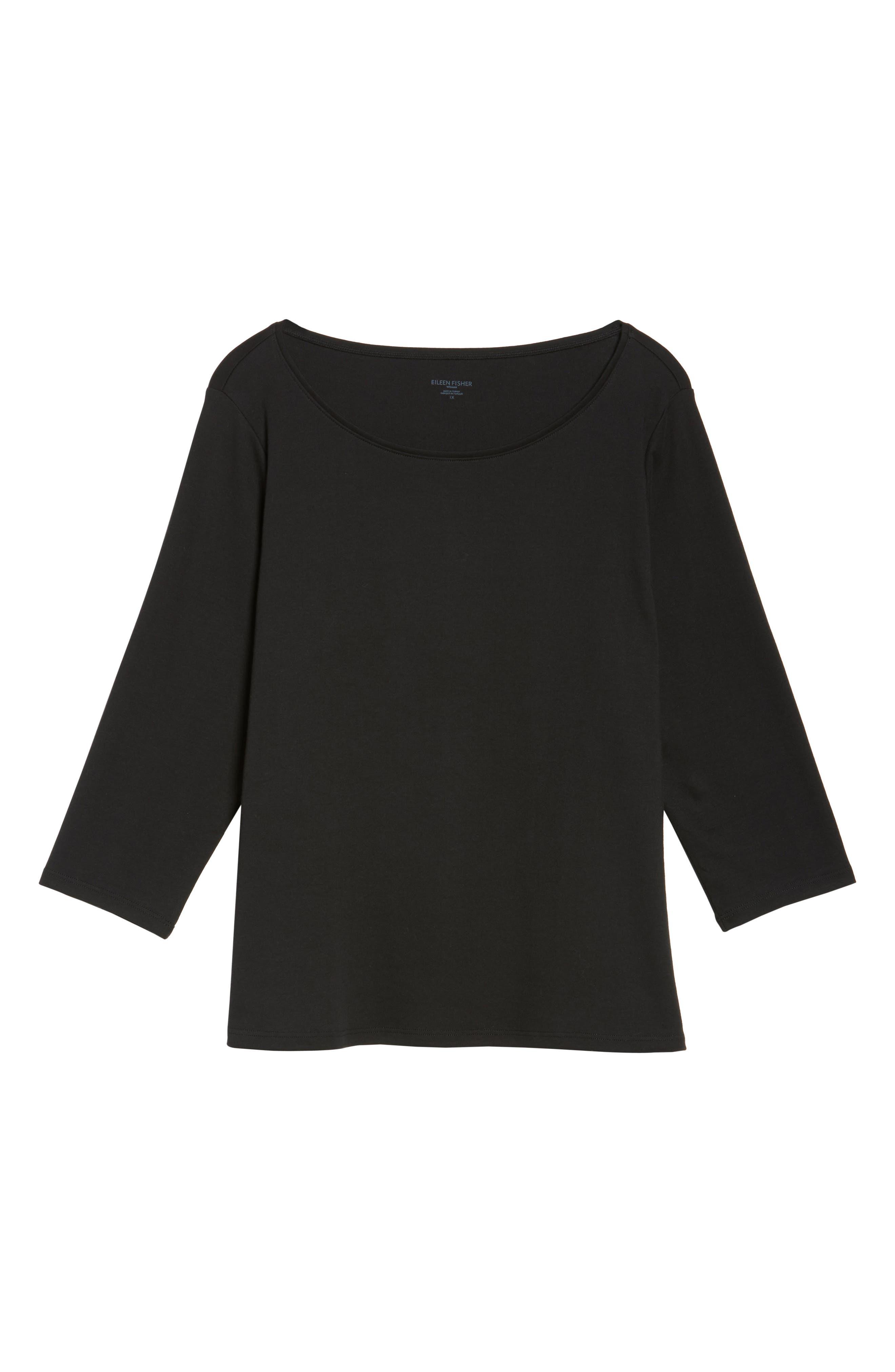 Organic Cotton Ballet Neck Top,                             Alternate thumbnail 6, color,                             Black