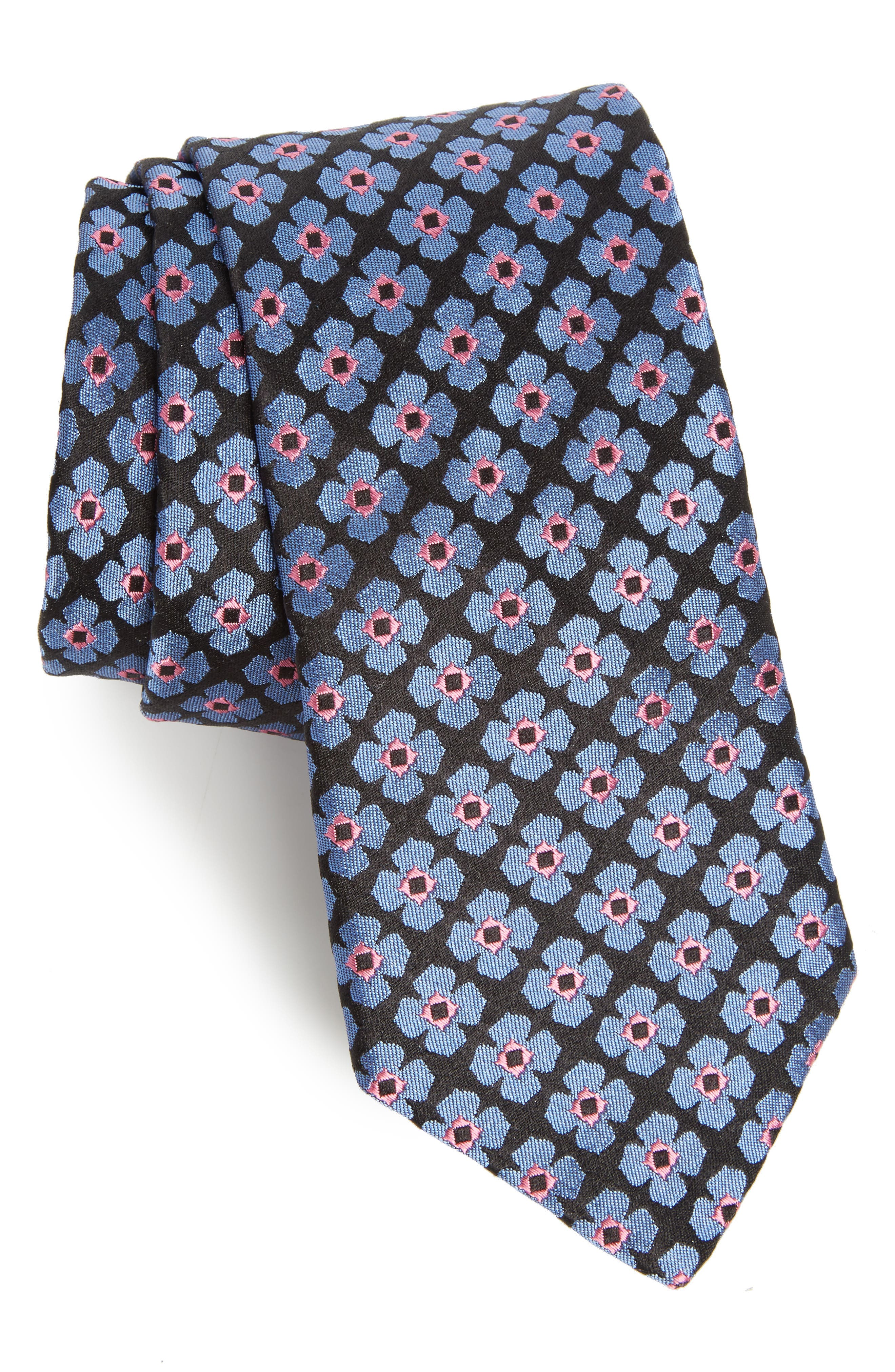 Floral Silk Tie,                             Main thumbnail 1, color,                             Black